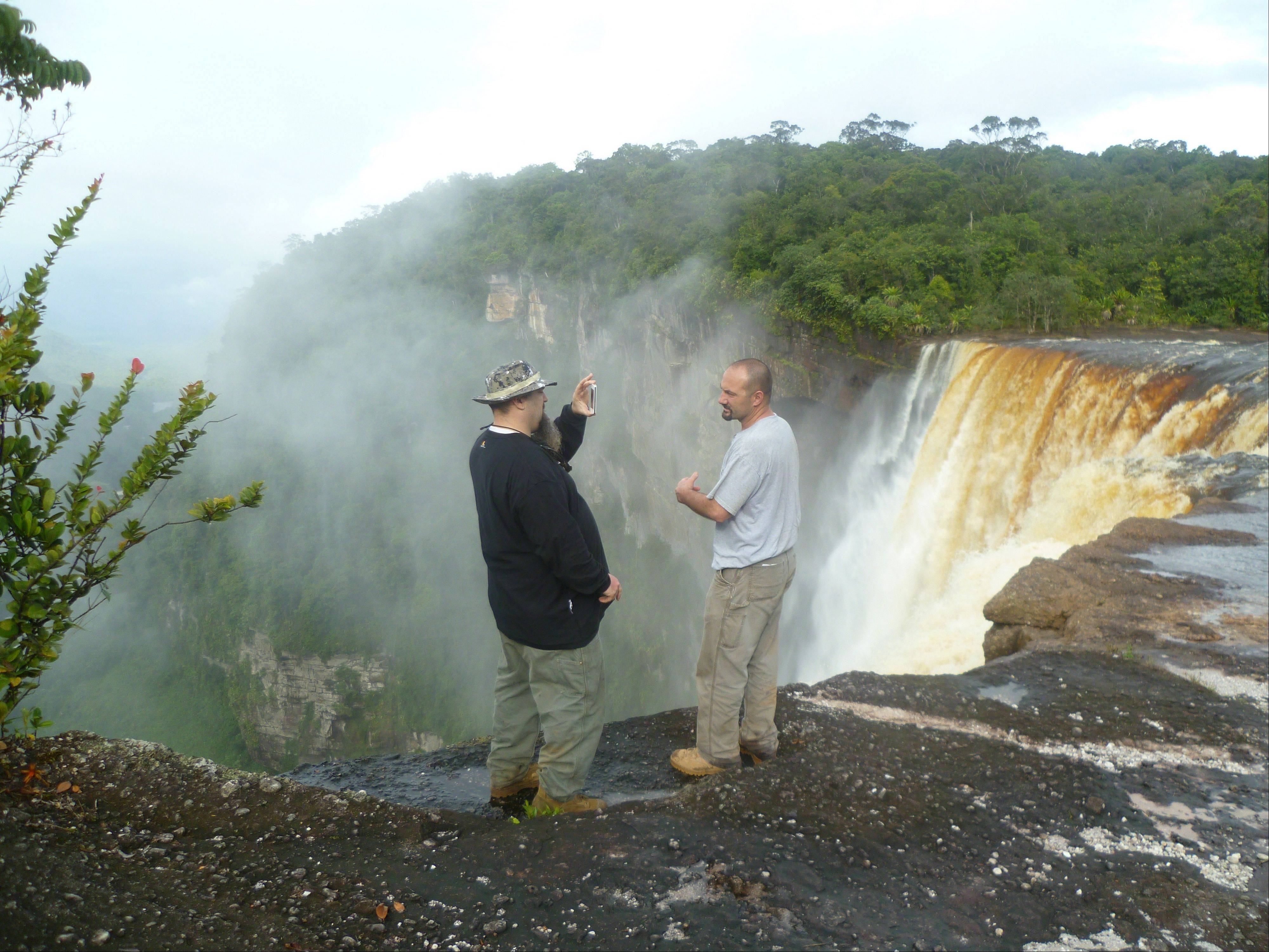 "Todd Hoffman and Dave Turin visit Kaieteur Falls in their quest for gold in ""Gold Rush: South America."""