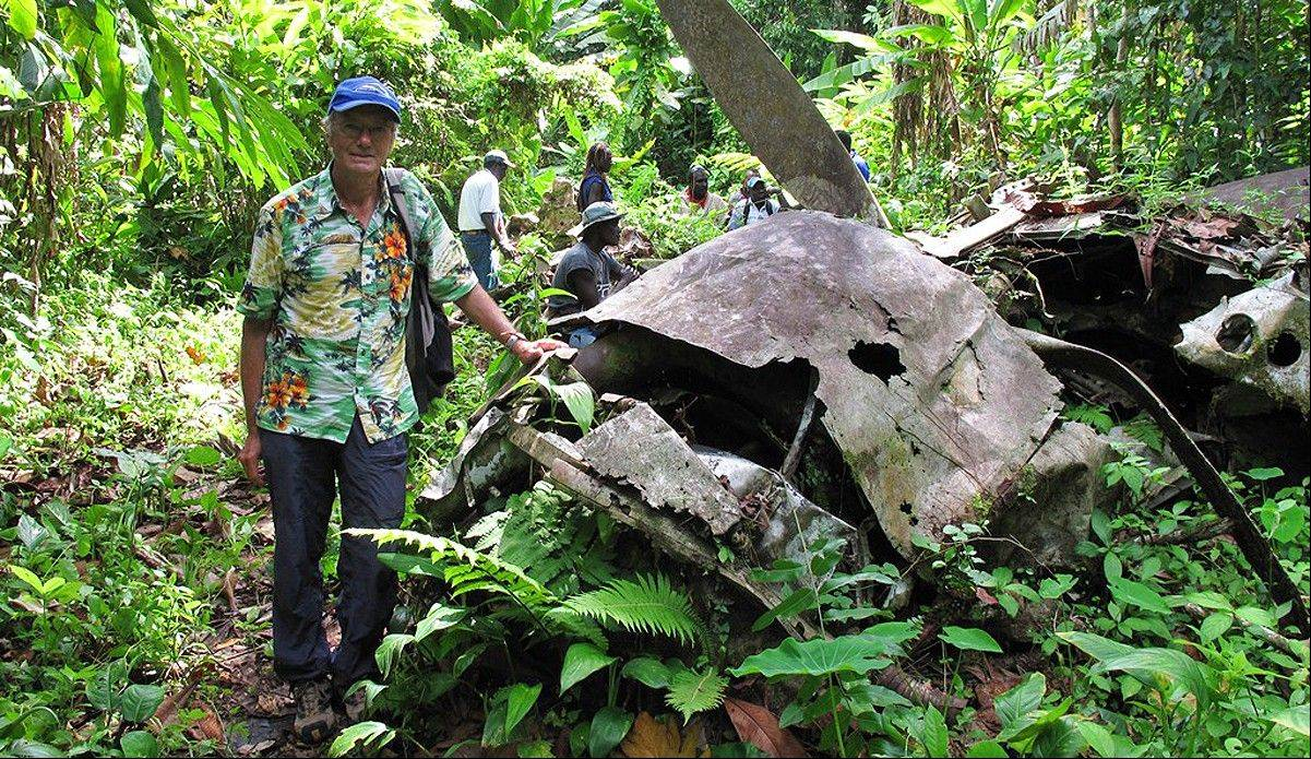 Lonely Planet co-founder Tony Wheeler at the crash site of Admiral Isoroku Yamamoto�s Mitsubishi G4M bomber on the island of Bougainville, Papua New Guinea. Yamamoto was the mastermind behind the attack on Pearl Harbor.