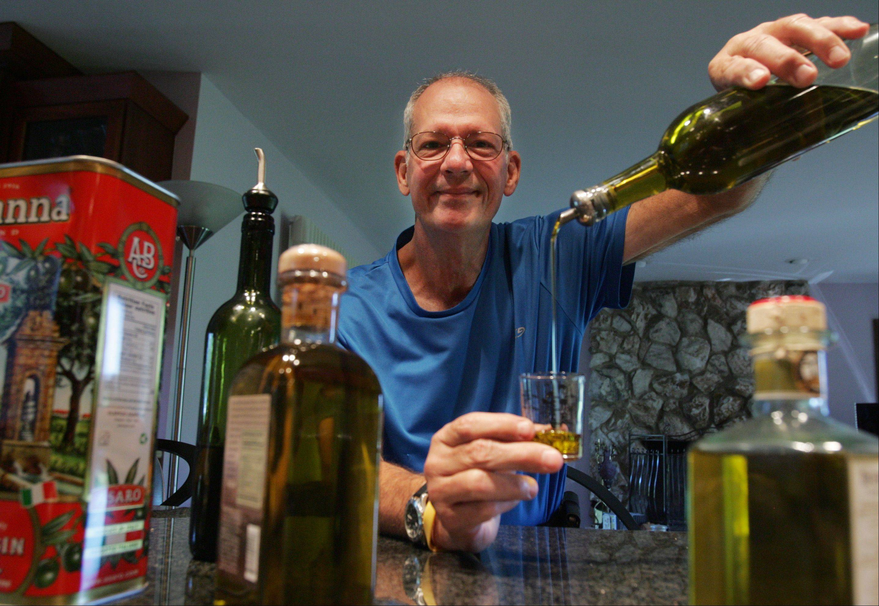 Olive oil is liquid gold to Nick Brenkus of West Dundee, one of the Cook of the Week Challenge contestants.