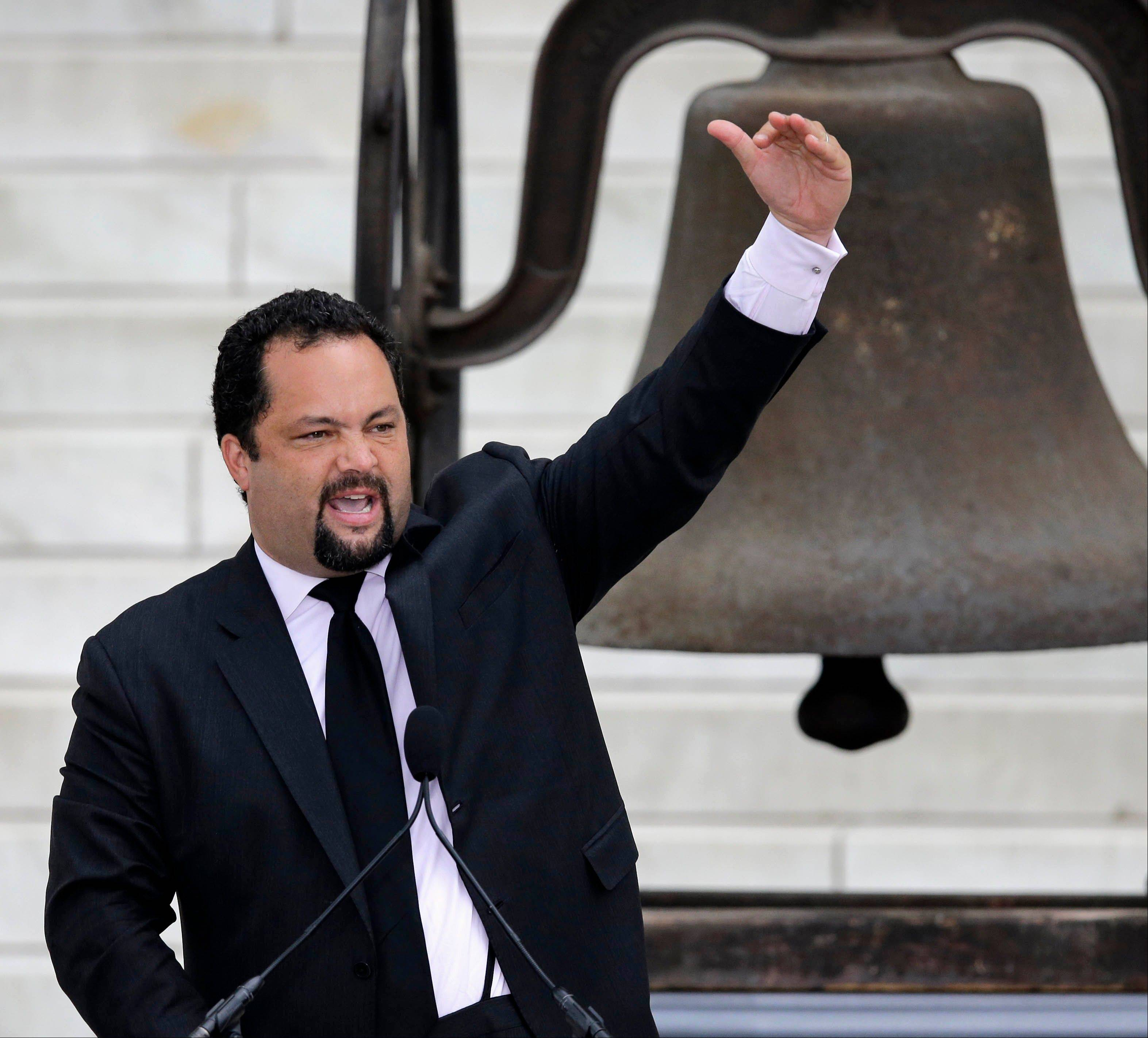 NAACP President and CEO Benjamin Jealous speaks at the Let Freedom Ring ceremony.