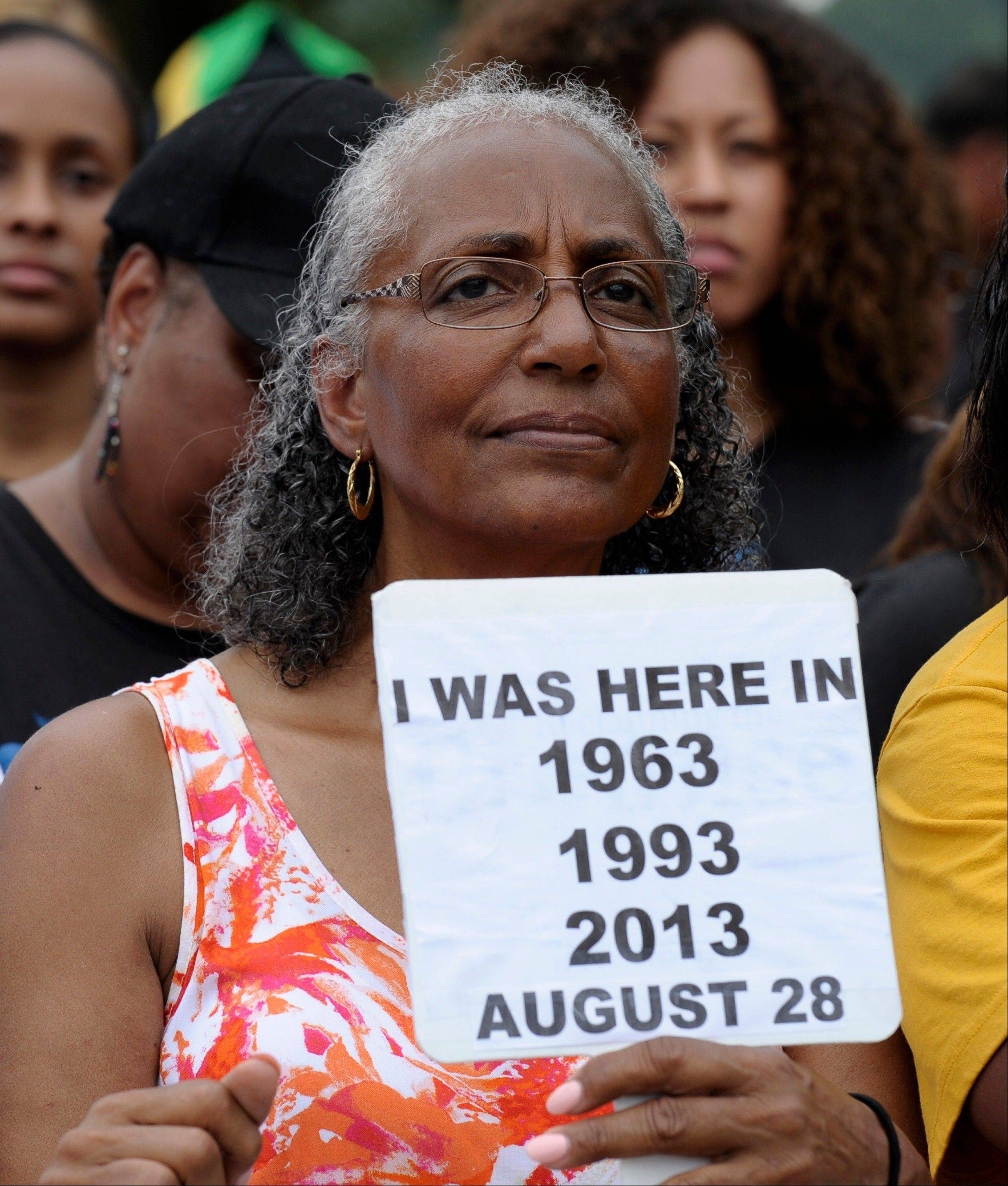 Betty Waller Gray of Richmond, Va., who attended previous March's on Washington, listens to the speakers.