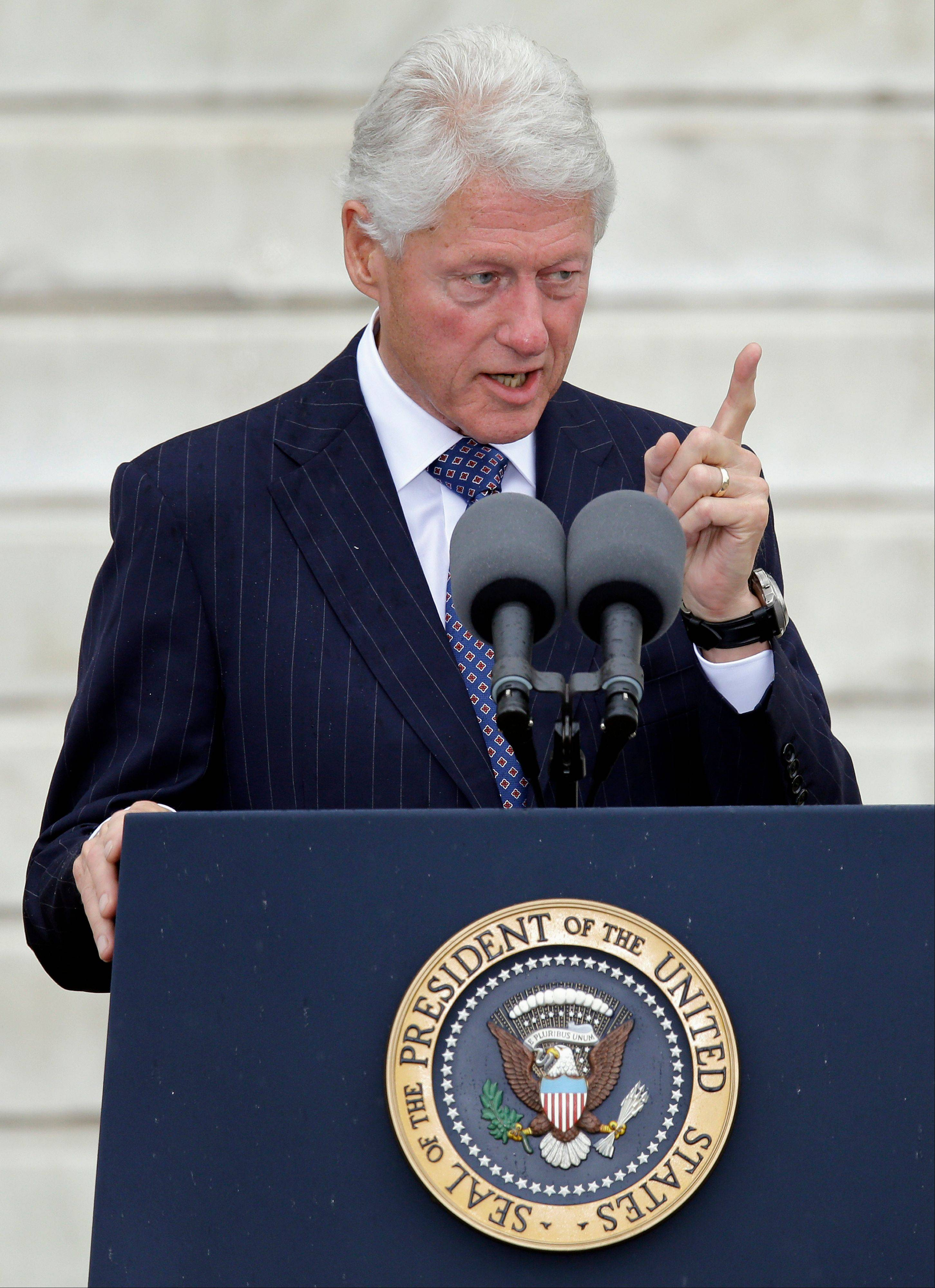 Former President Bill Clinton speaks at the Let Freedom Ring ceremony.