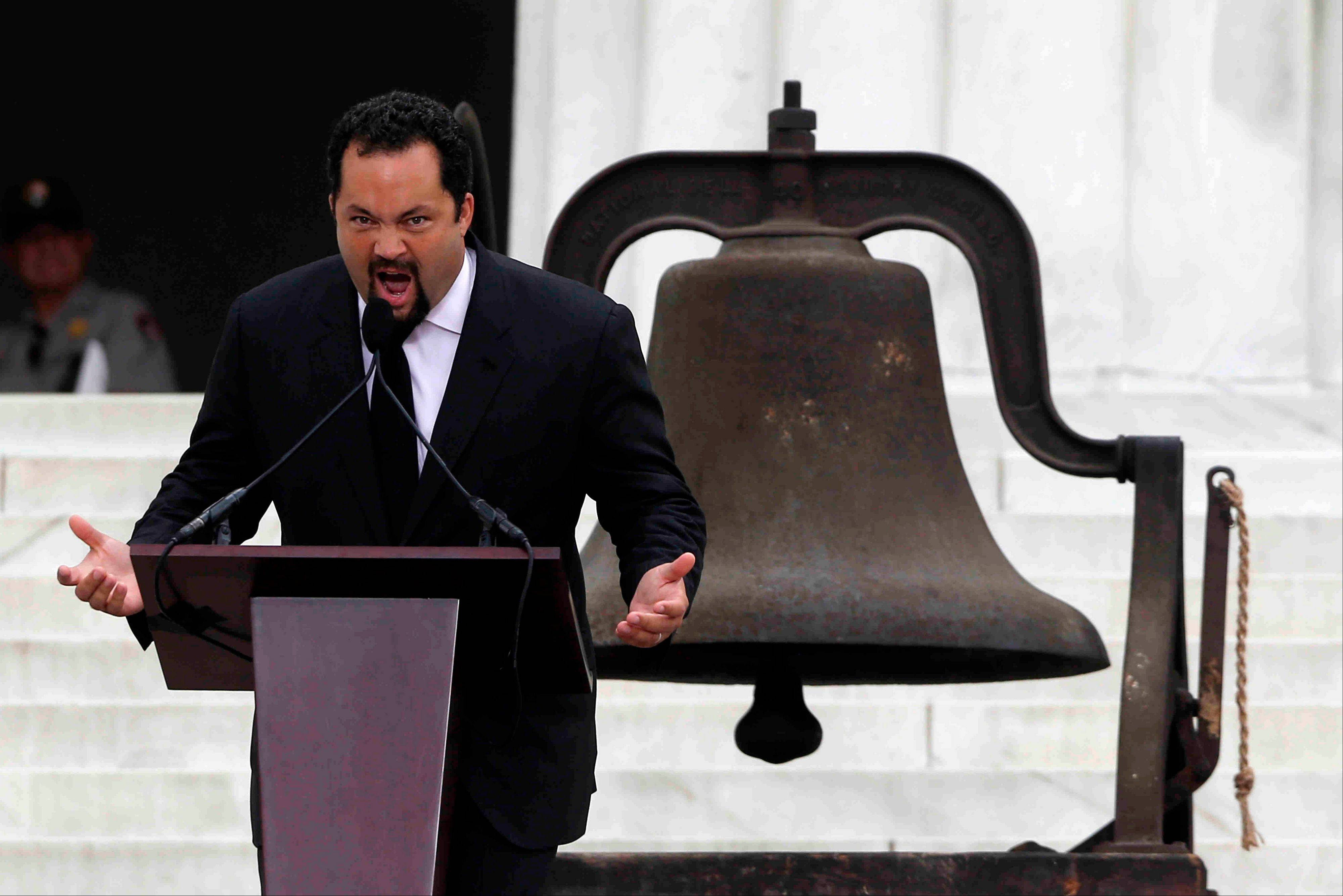 NAACP President and CEO Benjamin Jealous speaks at the 50th Anniversary of the March on Washington where Martin Luther King, Jr., spoke, Wednesday, Aug. 28, 2013, at the Lincoln Memorial in Washington.