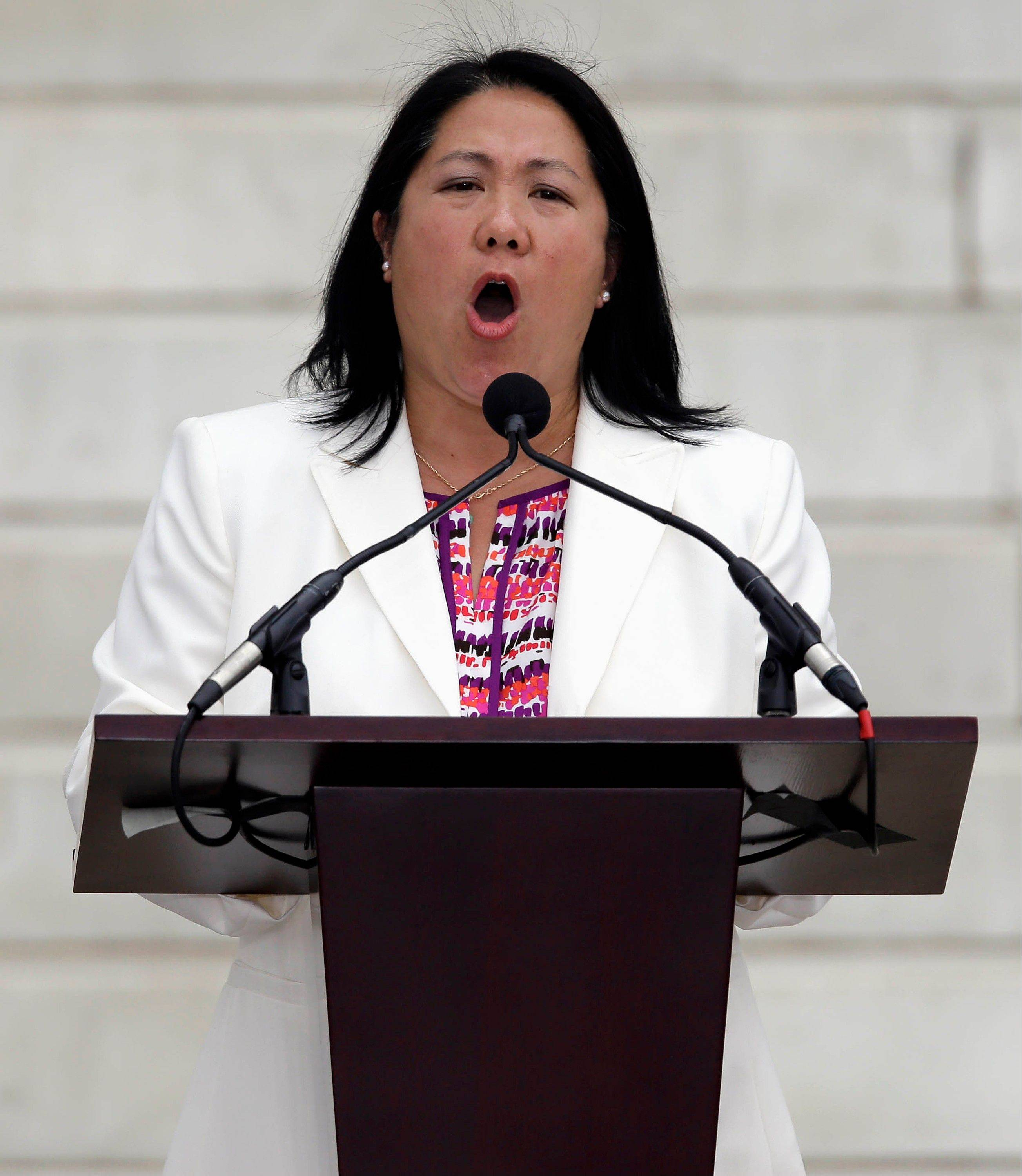 Mee Moua, president and executive director of Asian Americans Advancing Justice, speaks at the Let Freedom Ring ceremony at the Lincoln Memorial in Washington.