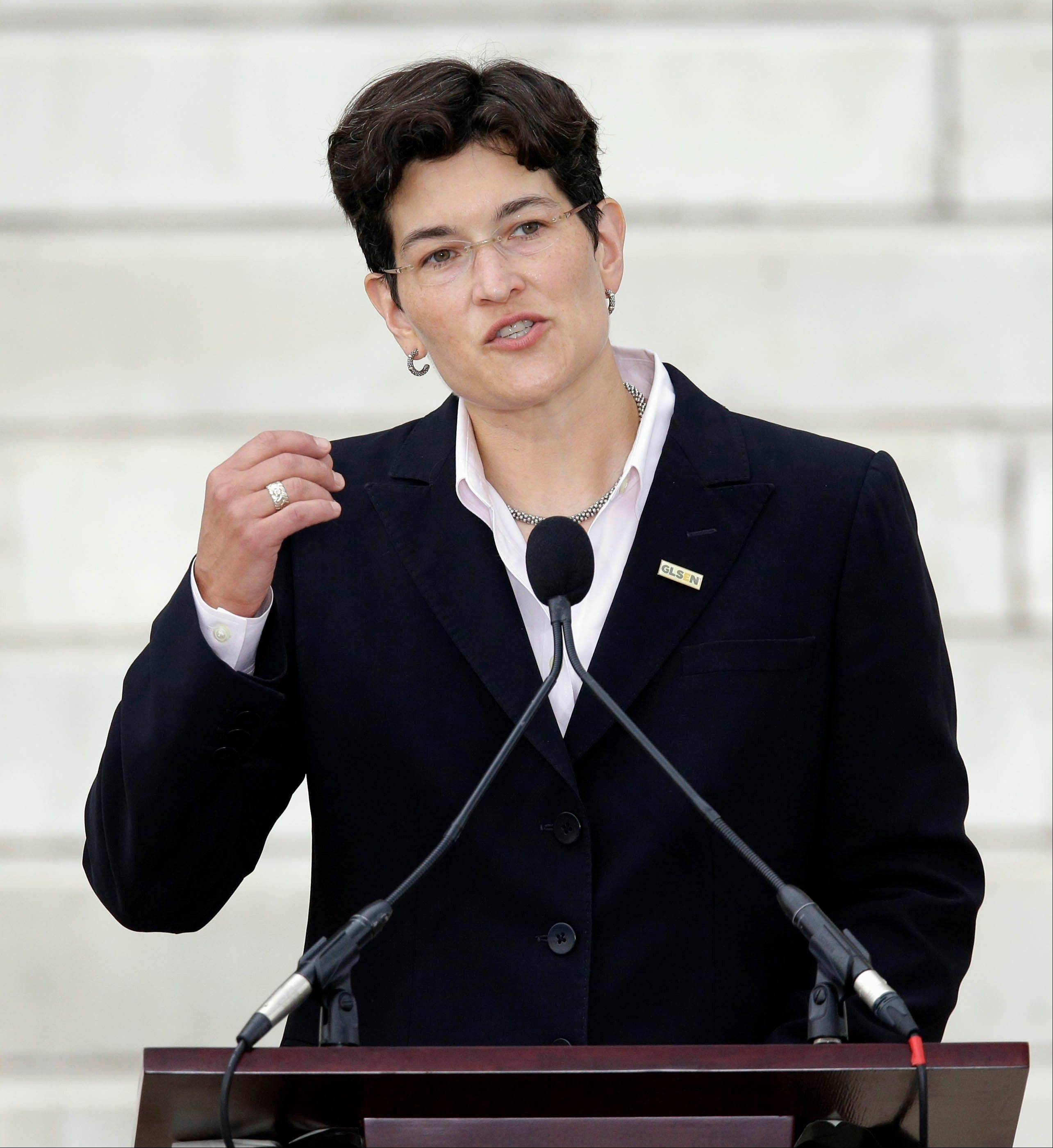 Eliza Byard, executive director of the Gay, Lesbian & Straight Education Network, speaks at the Let Freedom Ring ceremony at the Lincoln Memorial in Washington on Wednesday.