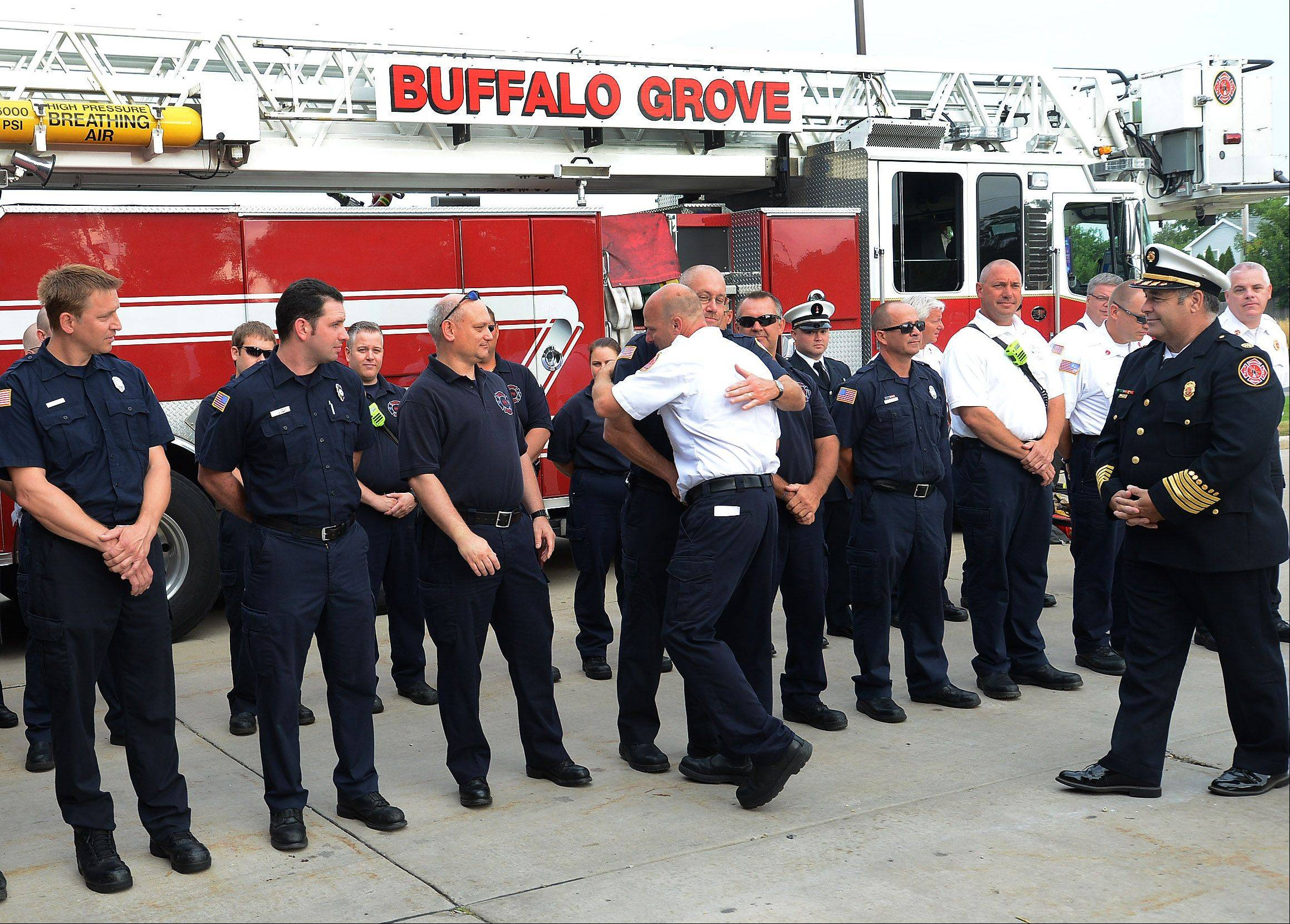 "Buffalo Grove Fire Department Lt. William ""Kent"" Brecht says goodbye to his station mates on the occasion of his retirement after 25 years with the department."