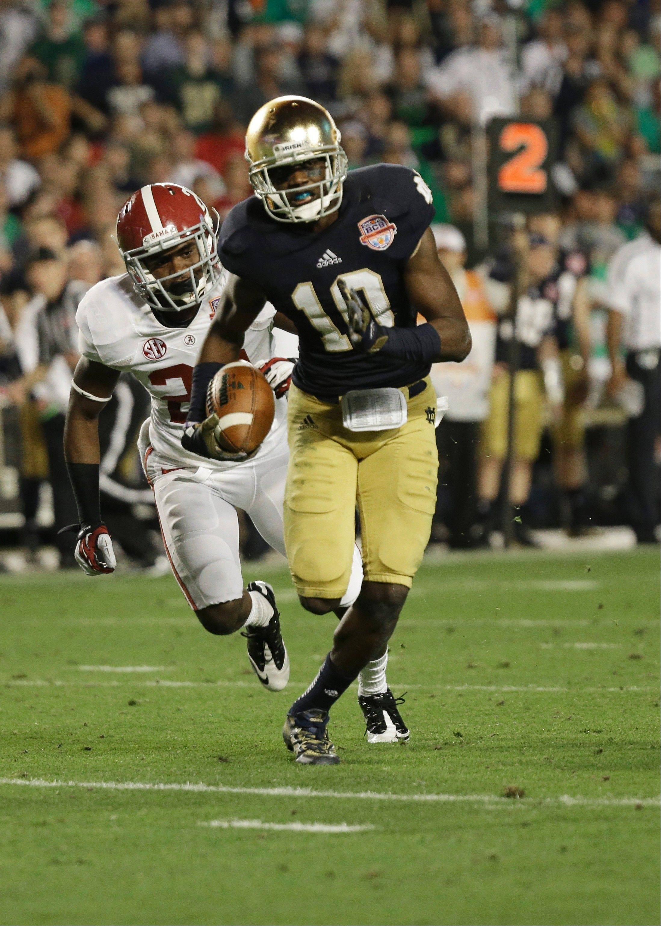 Notre Dame wide receiver DaVaris Daniels (10) had more than 100 yards in receptions in the BCS National Championship game last January in Miami. The Vernon Hills High School product should be a key factor in Notre Dame's offense this season.