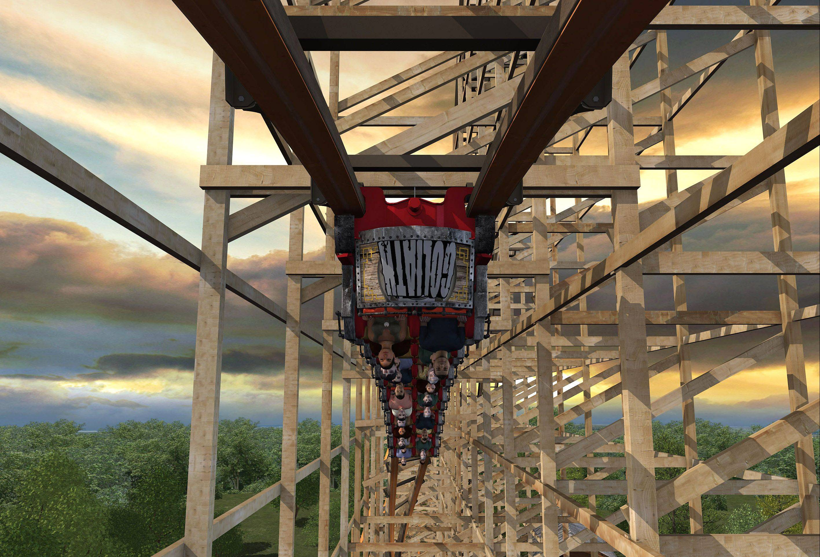 Riders will go upside down on the new Goliath wooden roller coaster planned for Six Flags Great America in Gurnee.