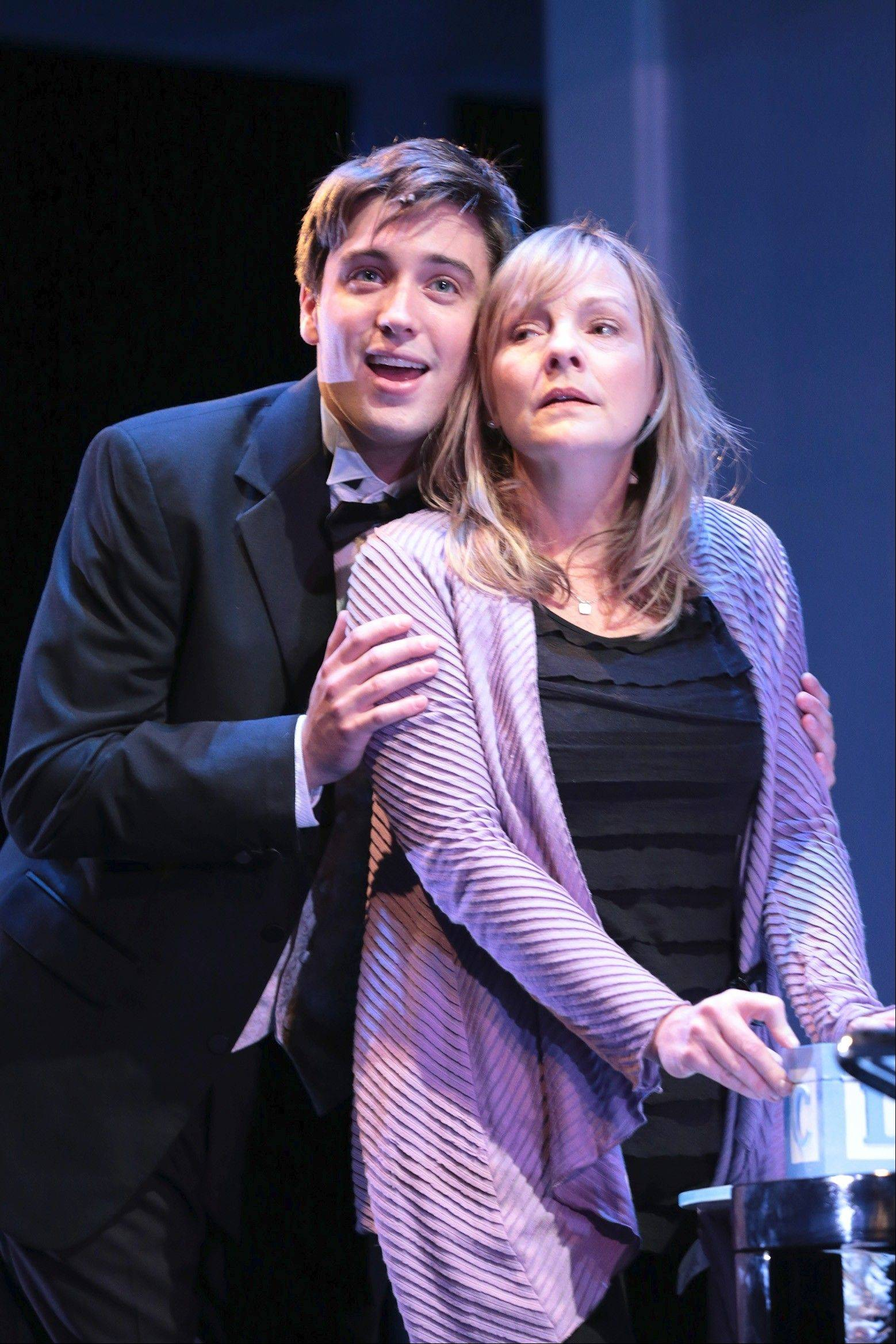"Gabe (Josh Tolle) serenades his mother, Diana Goodman (Susie McMonagle), to the song ""There's a World"" in the Pulitzer Prize-winning musical ""Next to Normal"" at Drury Lane Theatre in Oakbrook Terrace."