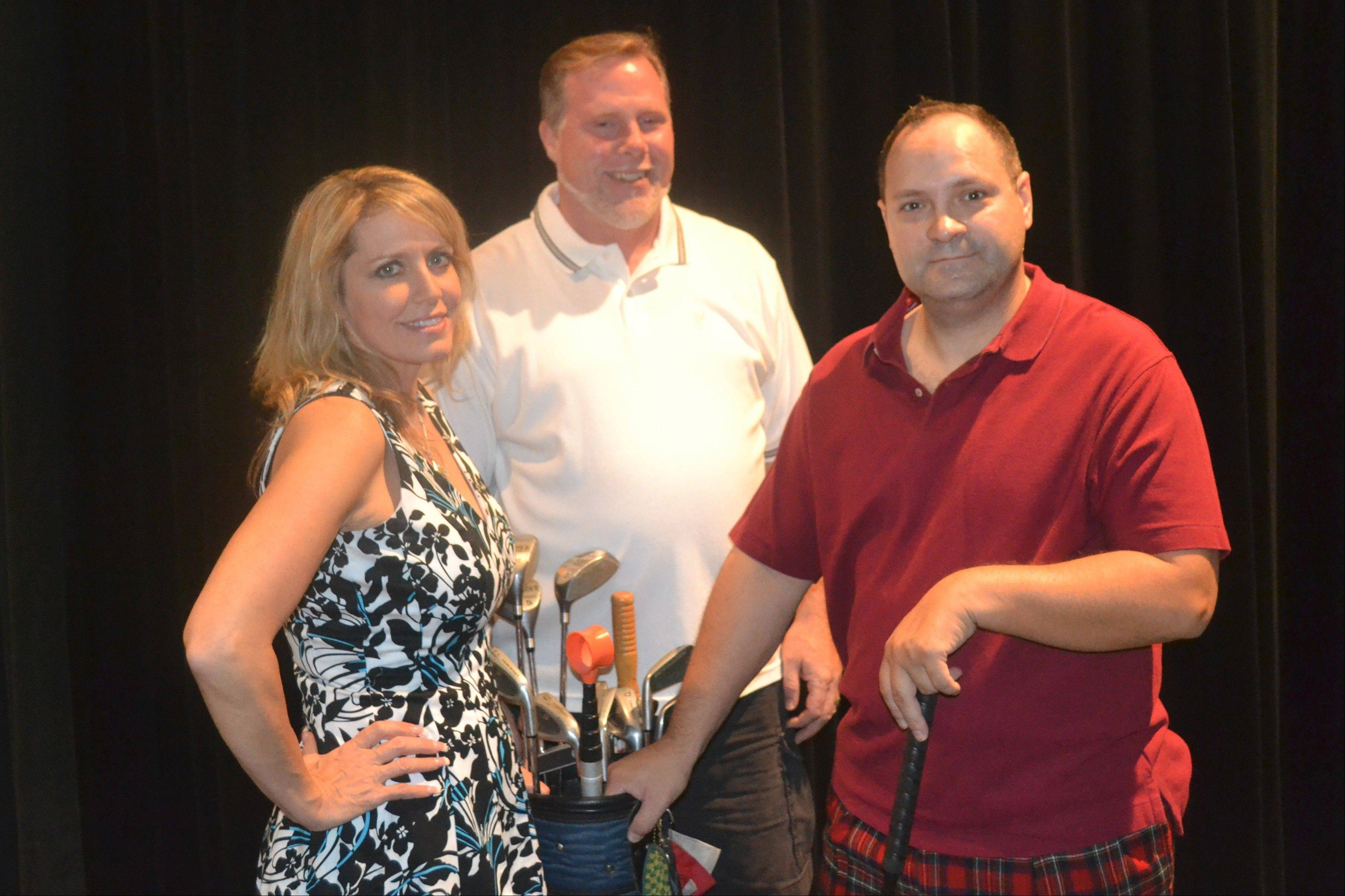 "From left, Melynda Benjamin of Elgin, Scott Niedl of Carol Stream, and Edward Duncan of Elk Grove Village will take the stage in Elgin Theatre Company's production of the comedy ""The Fox on the Fairway."""