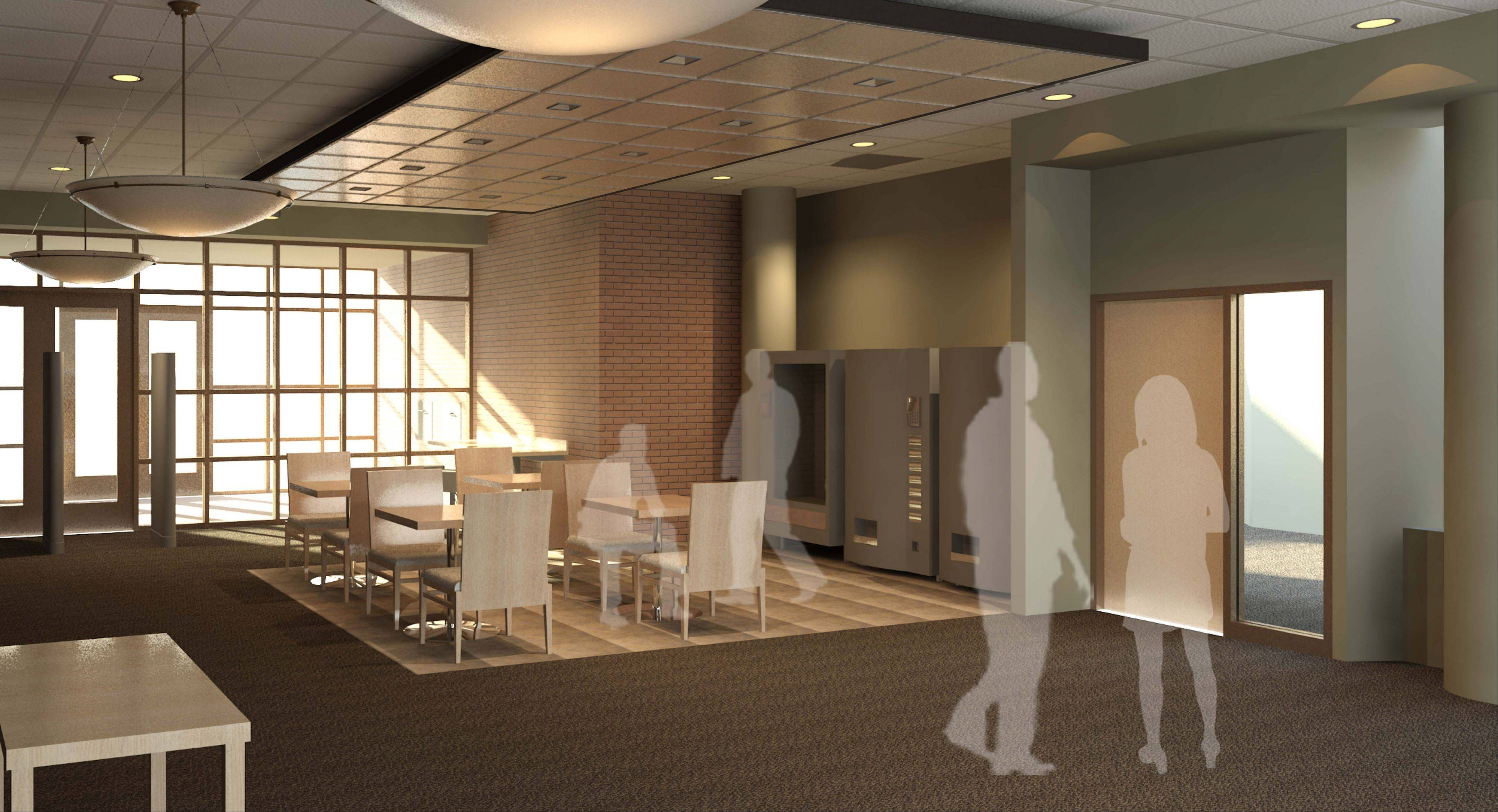 A rendering of the new lobby now being built at the main branch of the Algonquin Area Public Library District on Harnish Drive. The main branch will be closed for several days next week while workers reconfigure its double doors.
