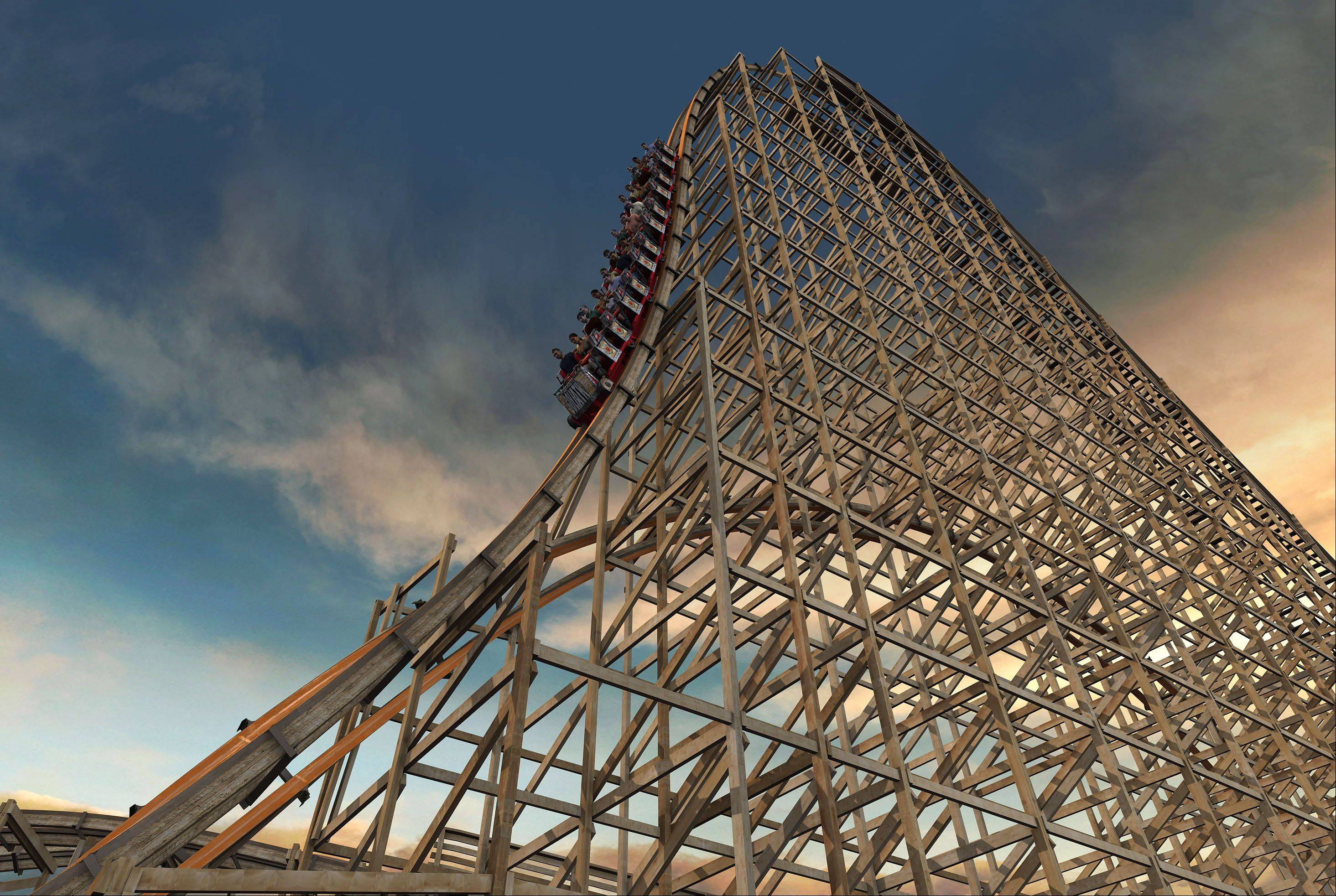 Rendering of the new Goliath wooden roller coaster planned for Six Flags Great America in Gurnee.