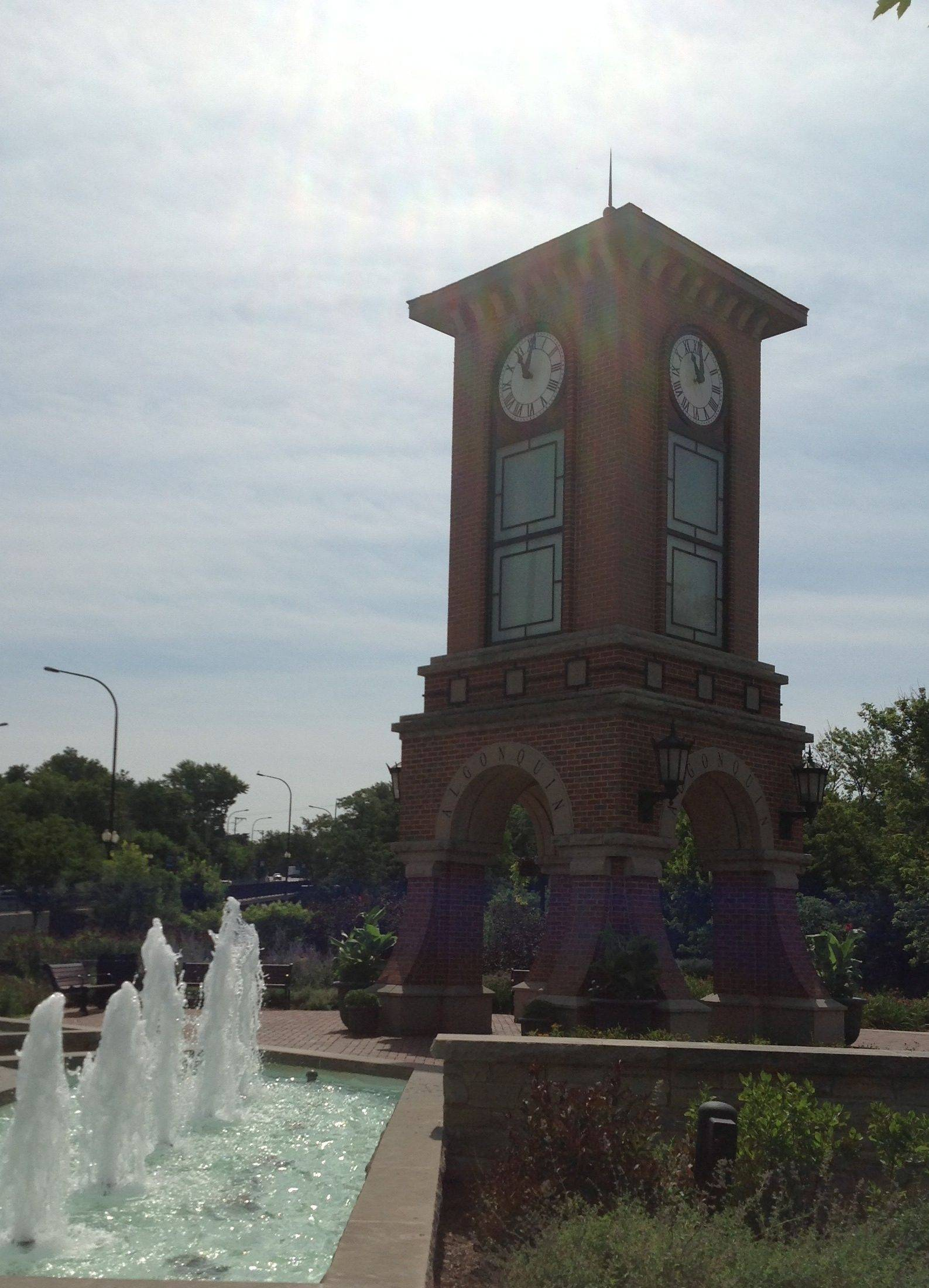 This clock tower in Cornish Park was inspired by another clock tower at Algonquin's historic village hall.