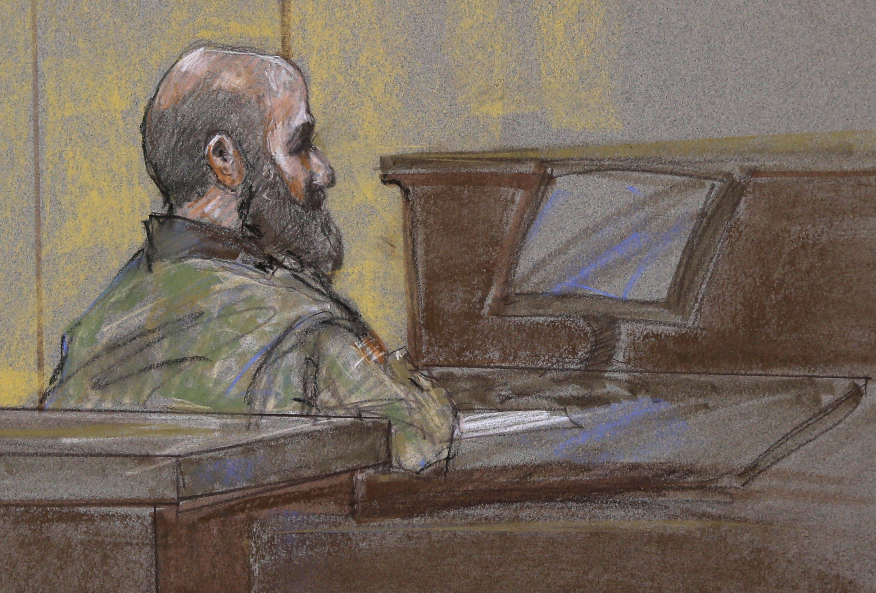 U.S. Army Maj. Nidal Malik Hasan is shown as the guilty verdict is read at his court martial, in Fort Hood, Texas. A military jury has sentenced Hasan to death for the 2009 shooting rampage at Fort Hood that killed 13 people and wounded more than 30 others.