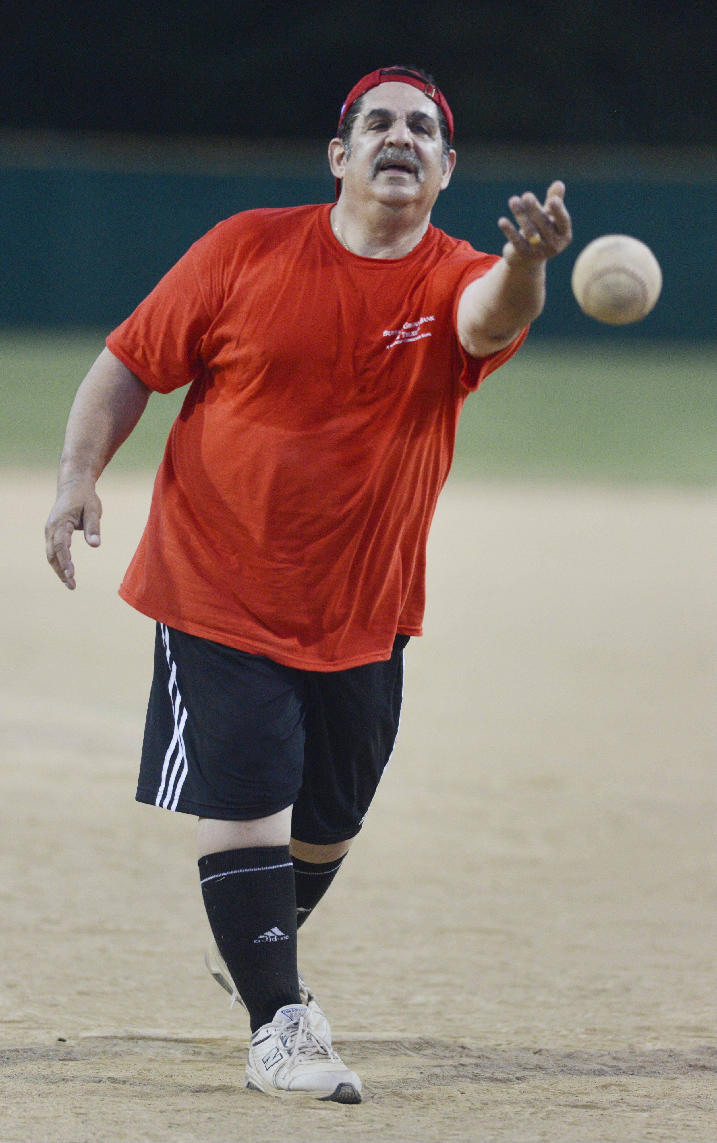 JOE LEWNARD/jlewnard@dailyherald.comScott Fishkin of the Buffalo Grove Chamber of Commerce delivers a pitch during Wednesday's annual charity softball game at Emmerich Park in Buffalo Grove.