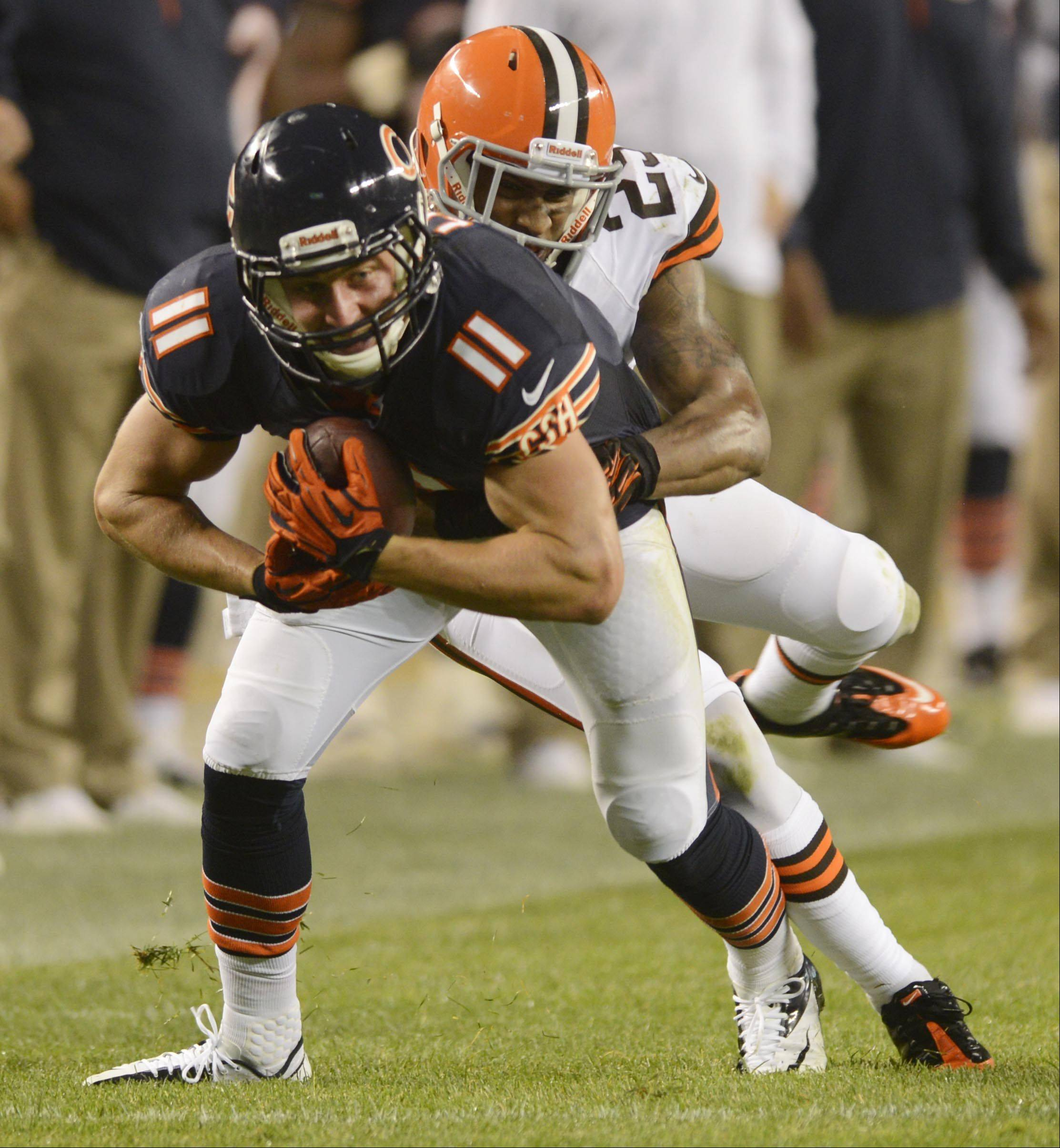 Chicago Bears wide receiver Josh Lenz turns after catching a pass against the Cleveland Browns.