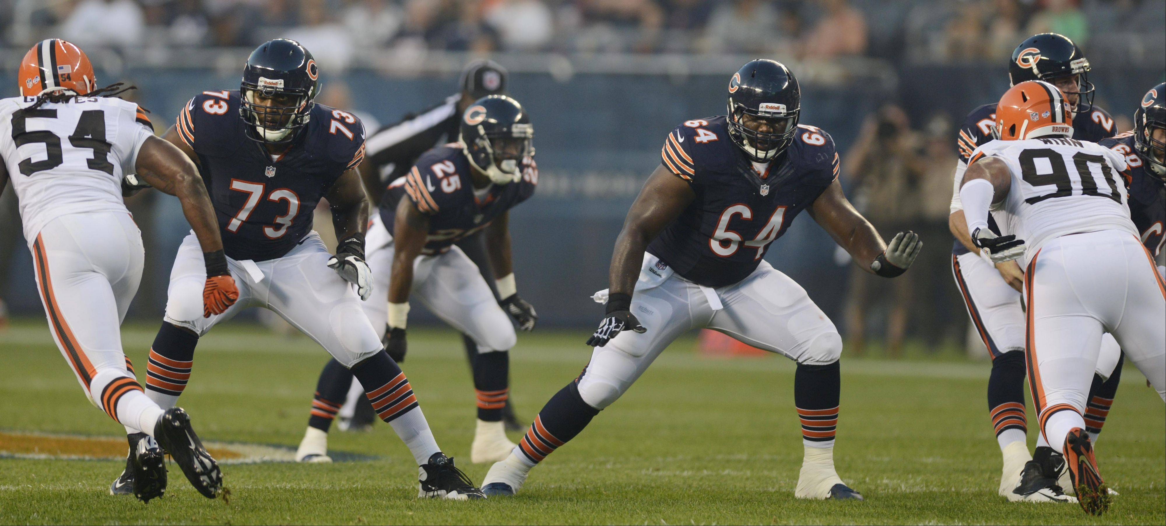 Chicago Bears tackle J'Marcus Webb and guard Derek Dennis.