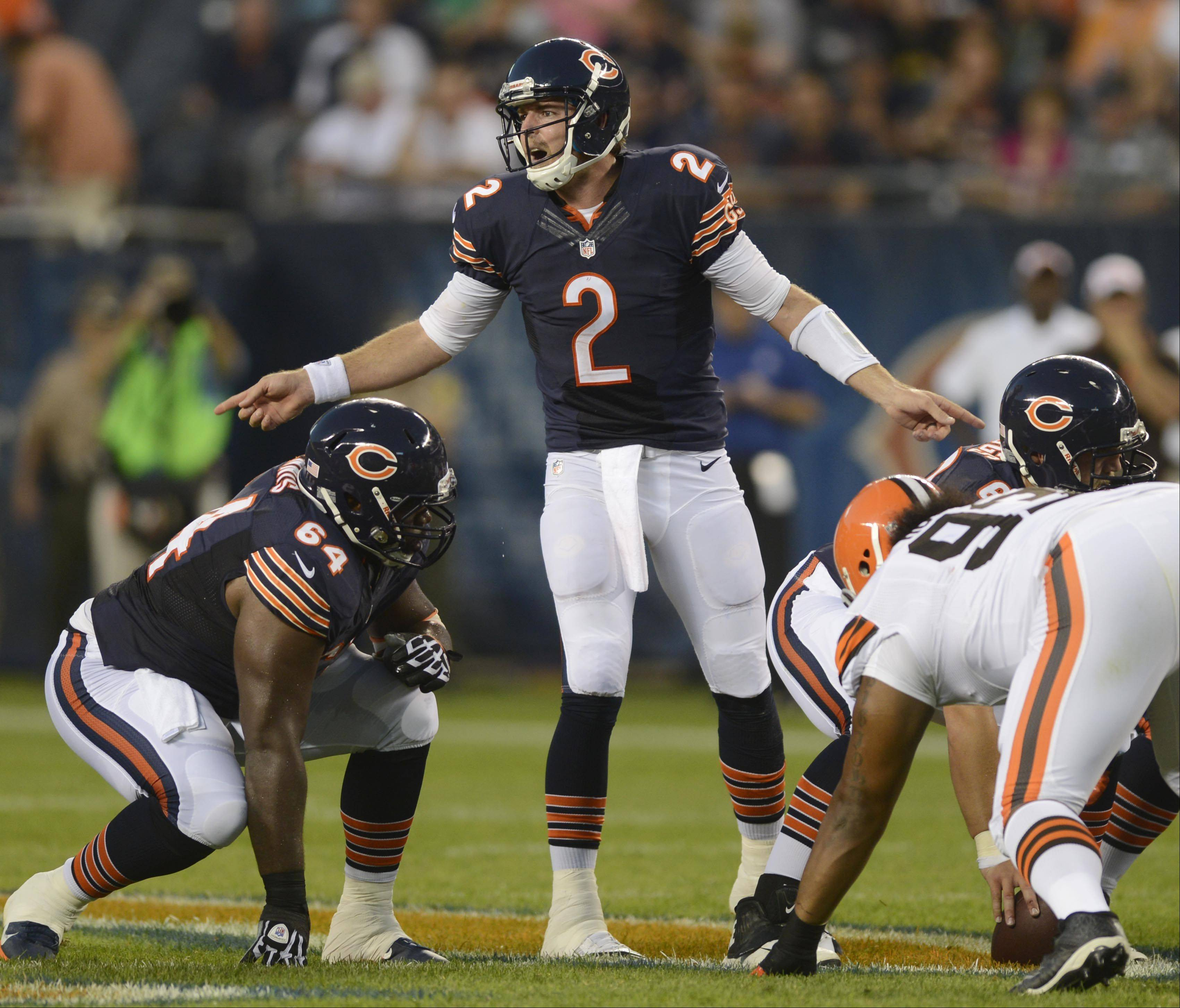 Chicago Bears quarterback Jordan Palmer calls a play.