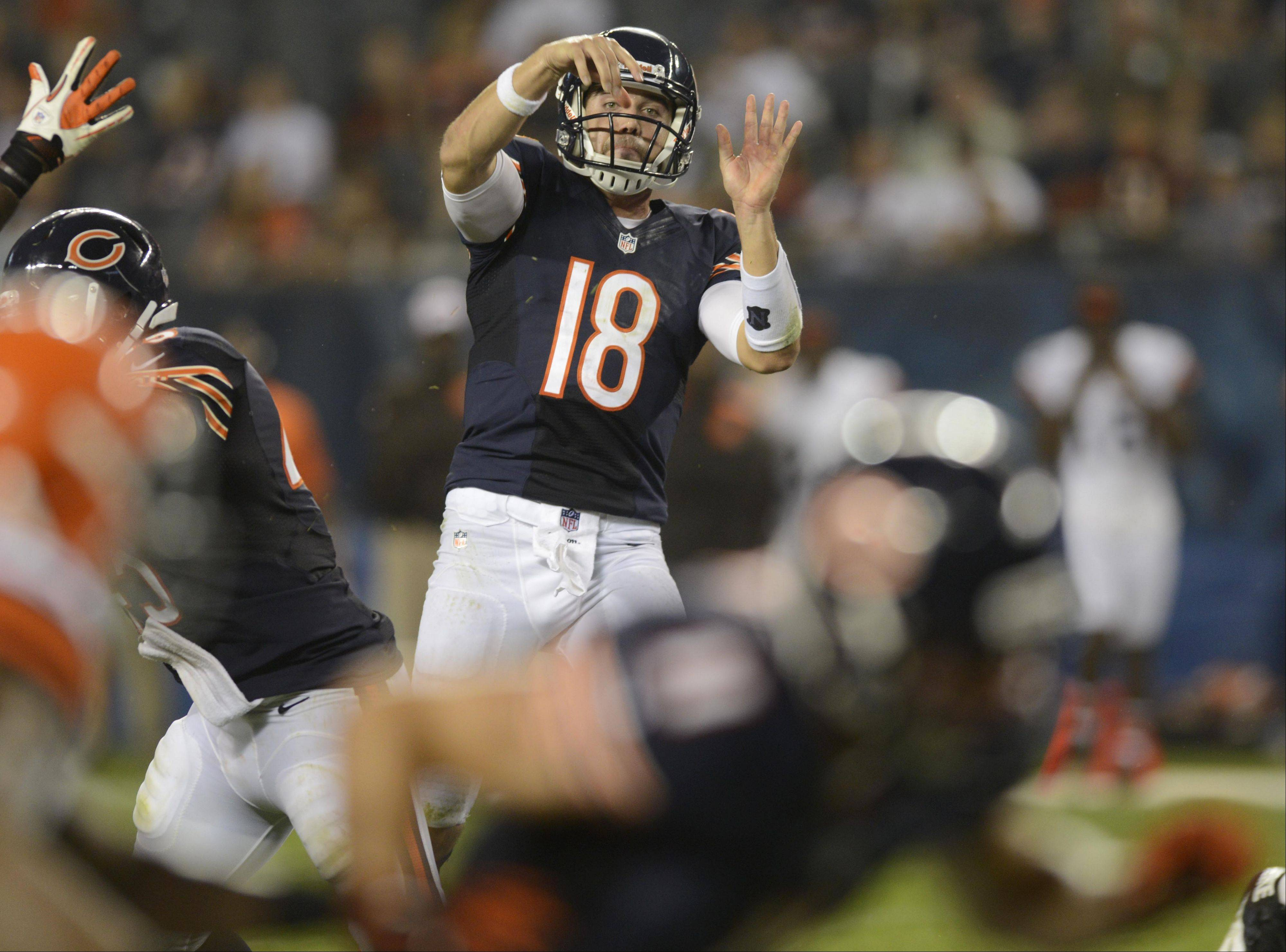 Chicago Bears quarterback Trent Edwards throws in the final minute of play.
