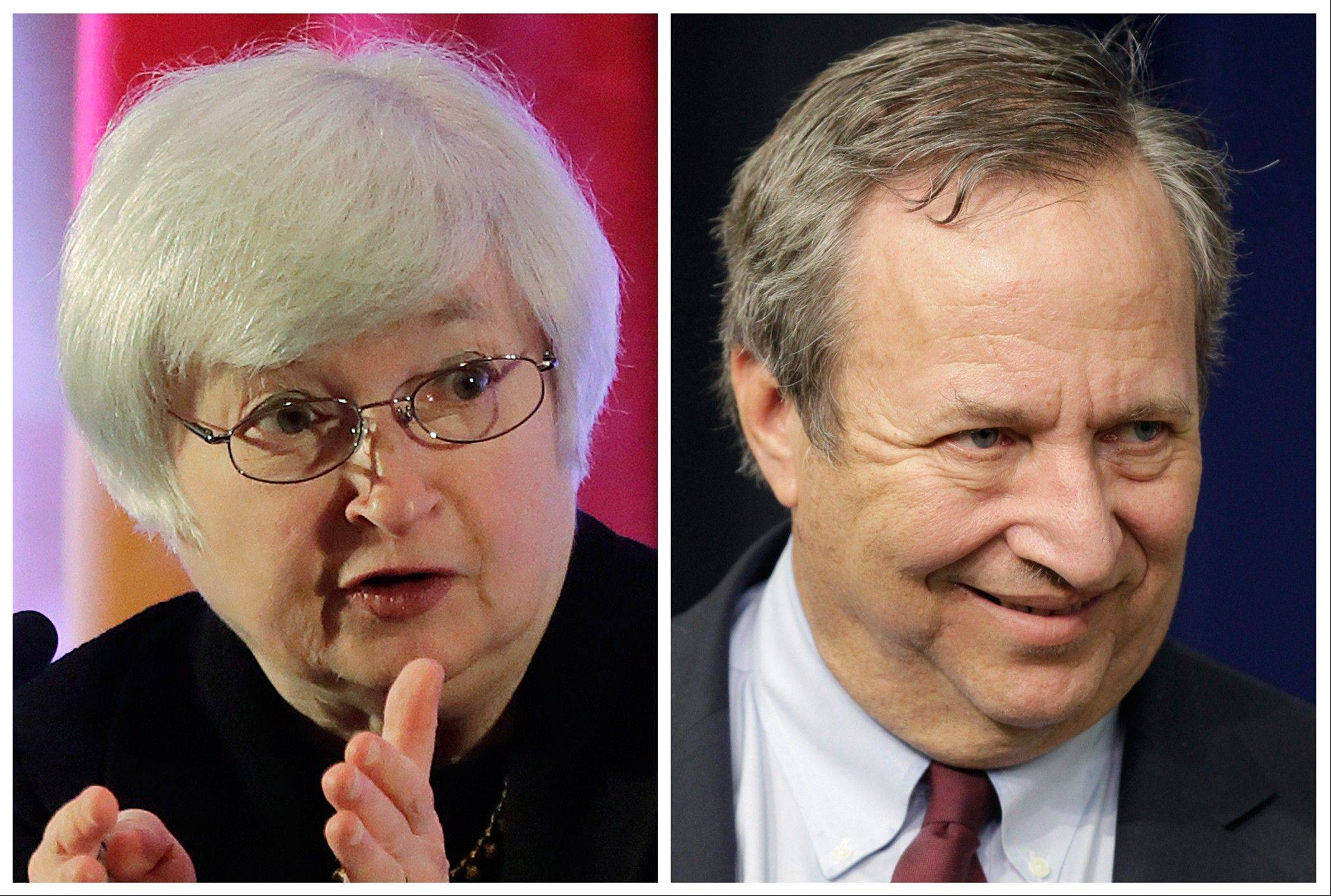 This photo combo shows Fed Vice Chair Janet Yellen, left, and former Treasury Secretary Lawrence Summers. Fed Chairman Ben Bernanke is expected to step down when his second term ends in January 2014, and the contest to succeed him has turned into a public struggle between Yellen and Summers.