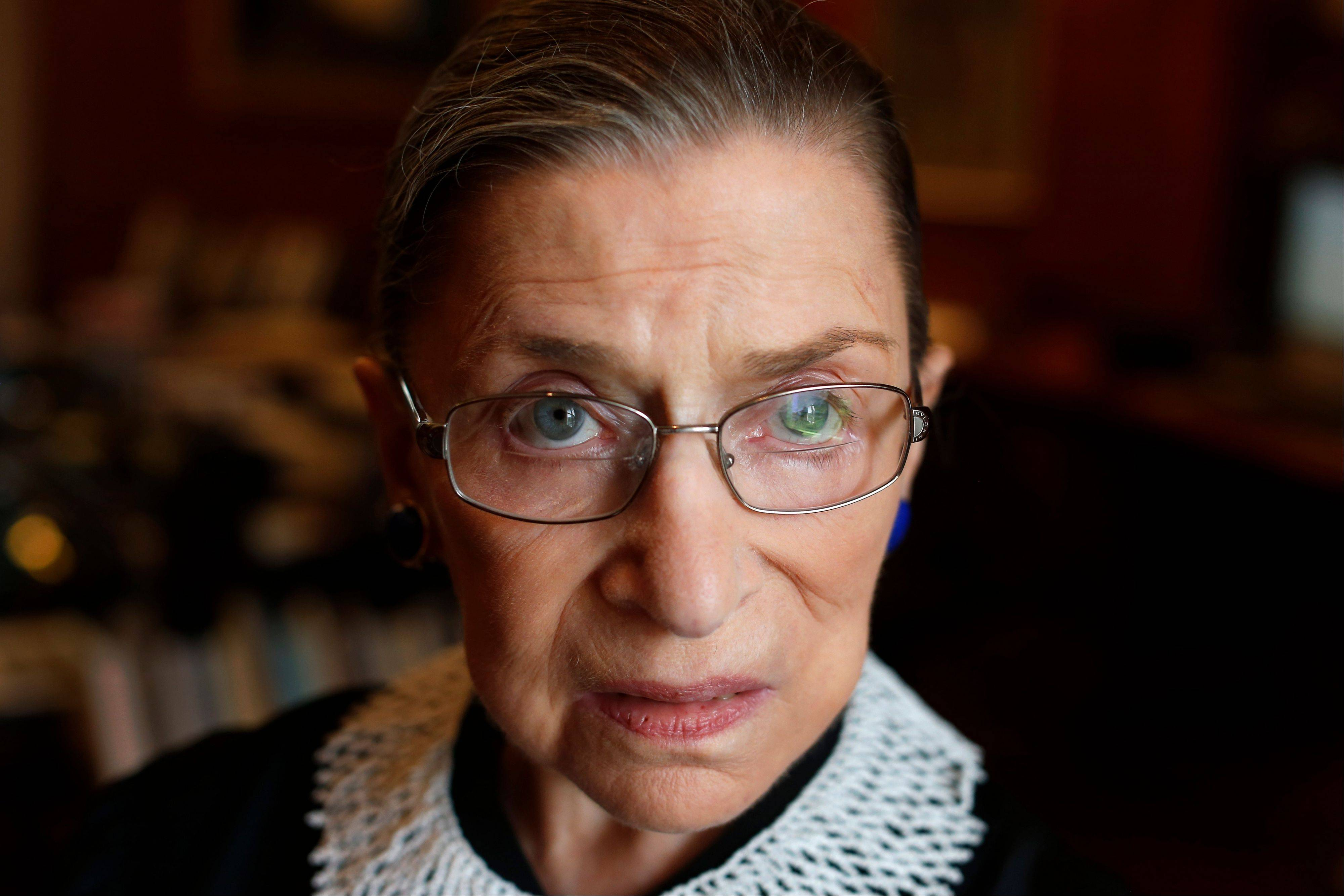 Associate Justice Ruth Bader Ginsburg in her chambers at the Supreme Court in Washington.