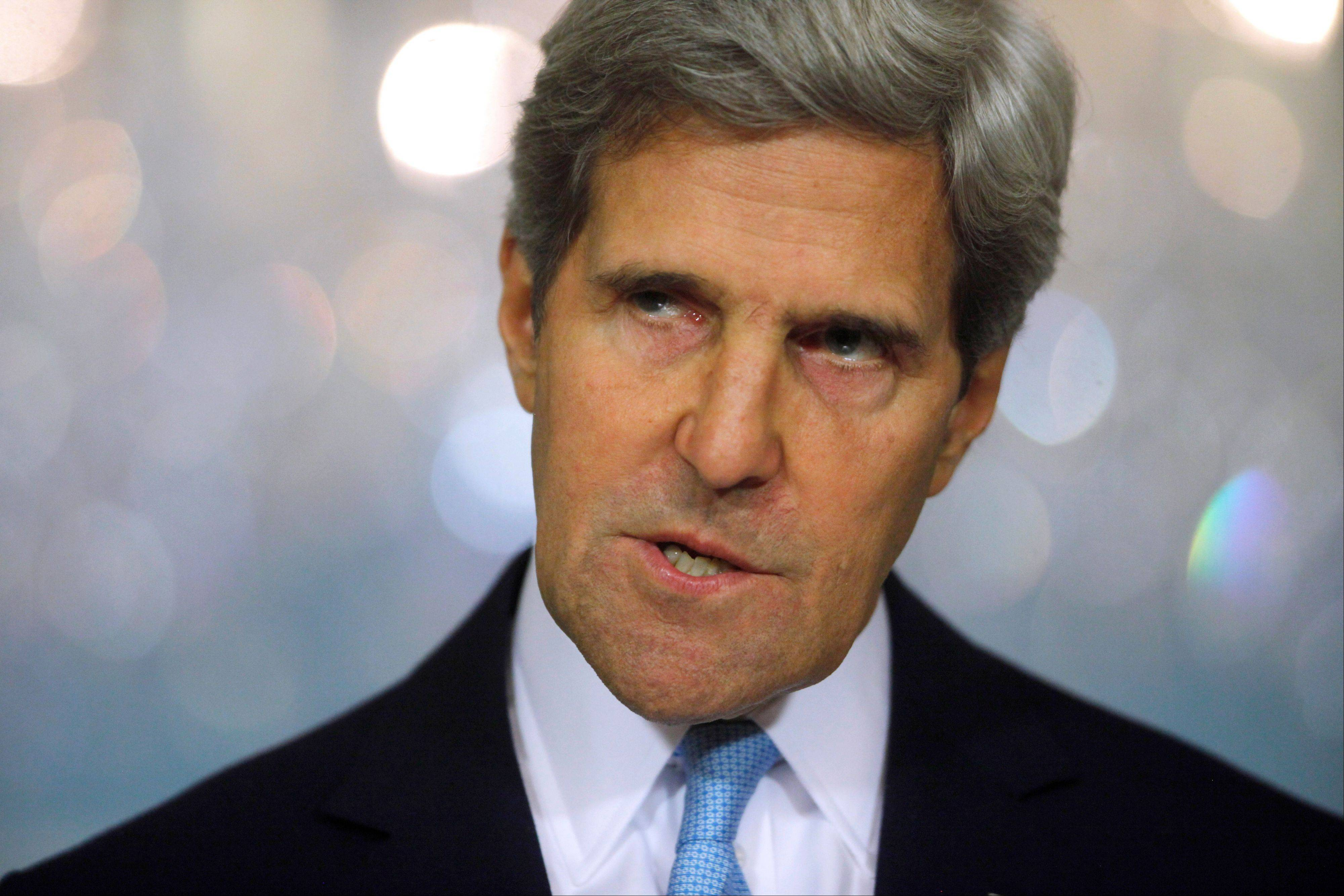 Secretary of State John Kerry makes a statement about Syria at the State Department in Washington, Friday, Aug. 30, 2013. Kerry said the U.S. knows, based on intelligence, that the Syrian regime carefully prepared for days to launch a chemical weapons attack.