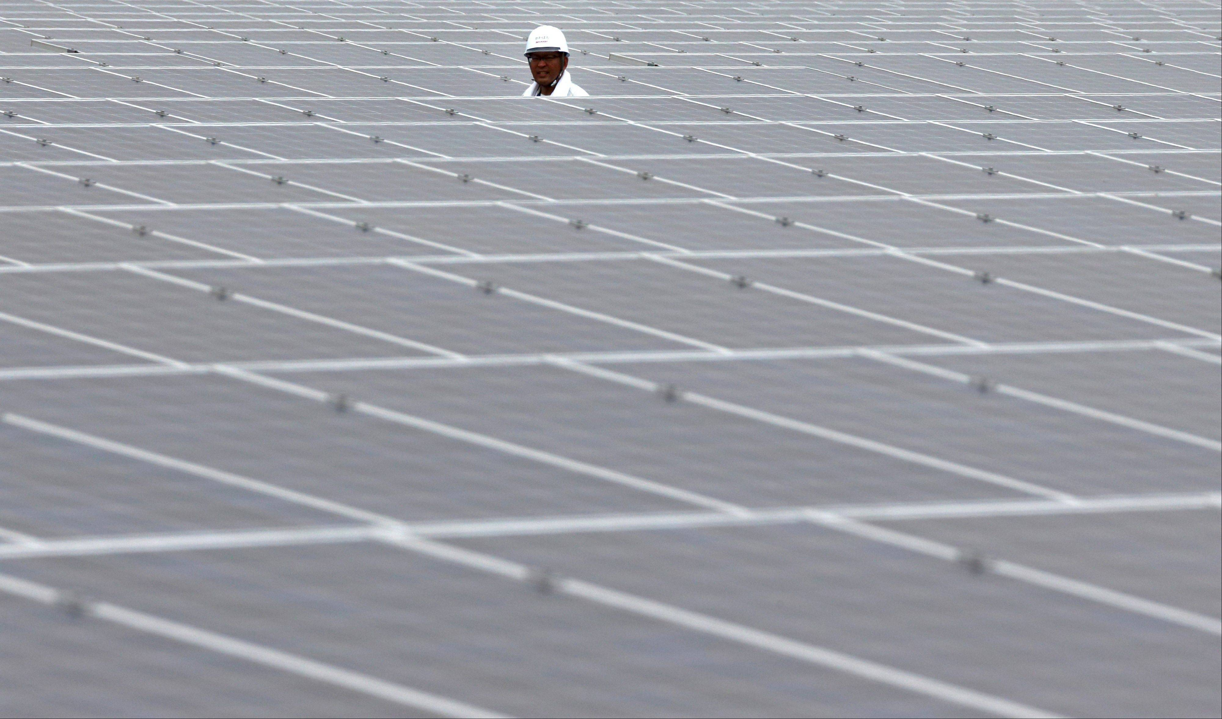 A worker walks Tuesday through solar panels, manufactured by Sharp Corp., at the SoftBank Yaita Solar Park operated by SB Energy Corp. in Yaita City, Japan.