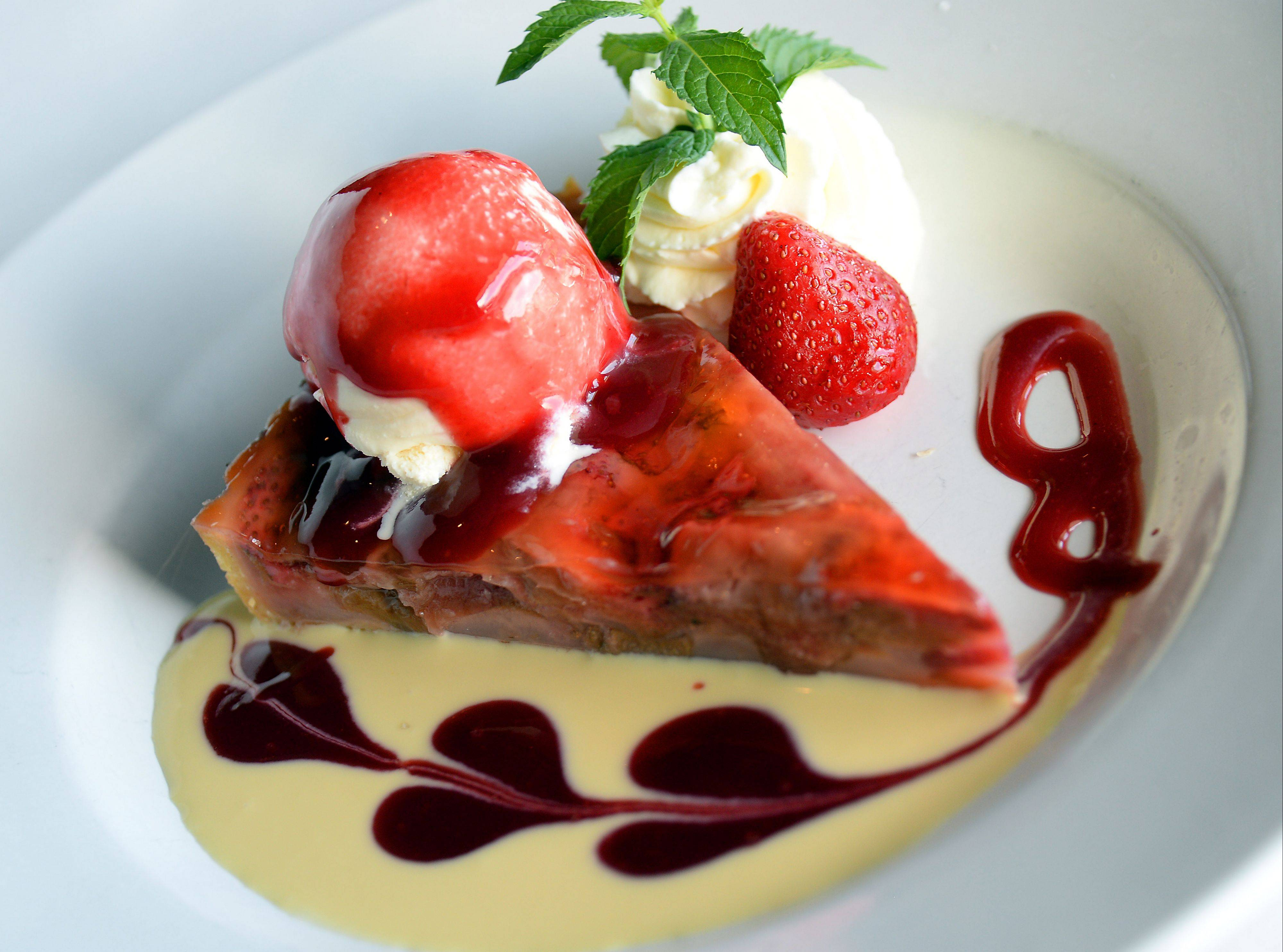 Rhubarb and strawberry blend brilliantly in this dessert tart at Retro Bistro in Mount Prospect.