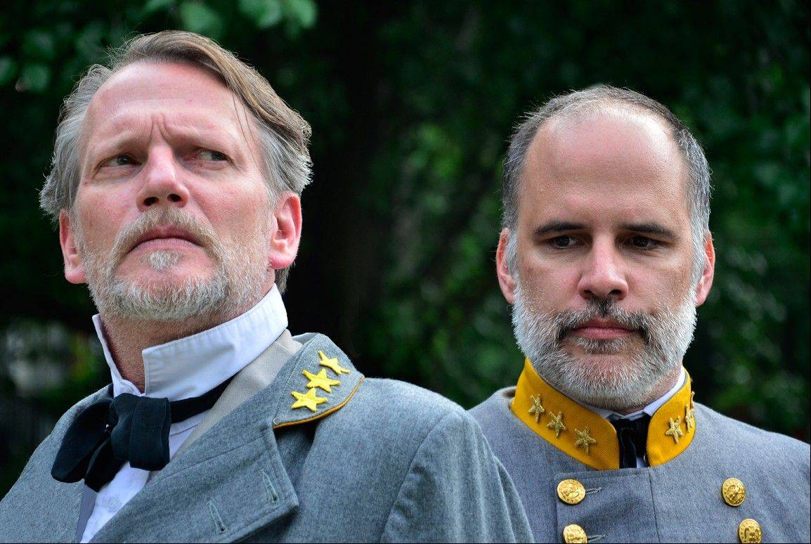"Don Bender, left, plays General Robert E. Lee and Tom Hickey plays Lt. General James Longstreet in Lifeline Theatre's revival of its original show, ""The Killer Angels."""
