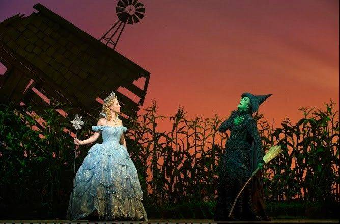 "Patti Murin as Glinda and Dee Roscioli as Elphaba in the Broadway production of ""Wicked."""