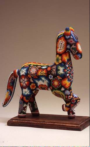 Huichol bead horse, made of wood, beeswax, and glass beads by an anonymous artist.
