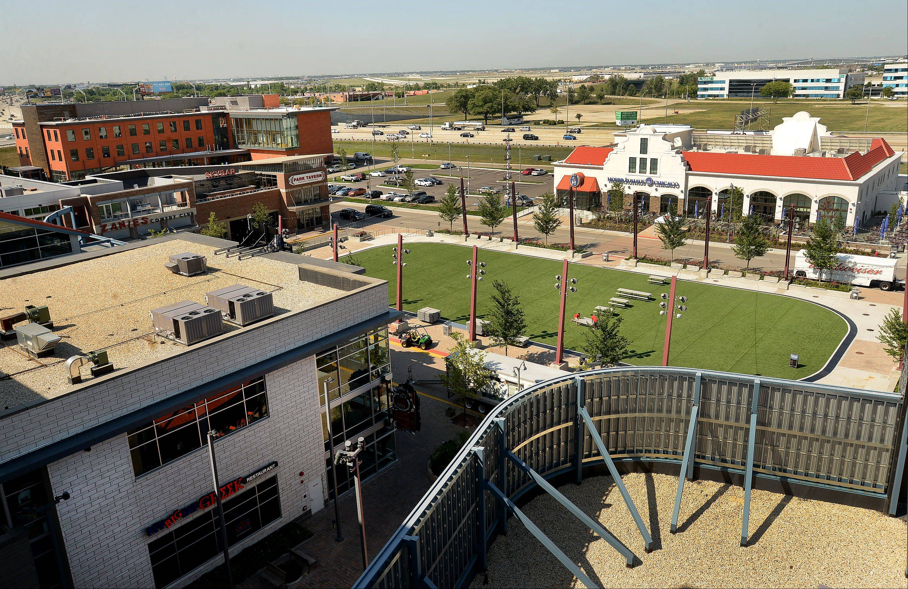 The entertainment district, as seen from the top of the parking lot, wouldn't have come together if Rosemont hadn't lost its bid for a casino.