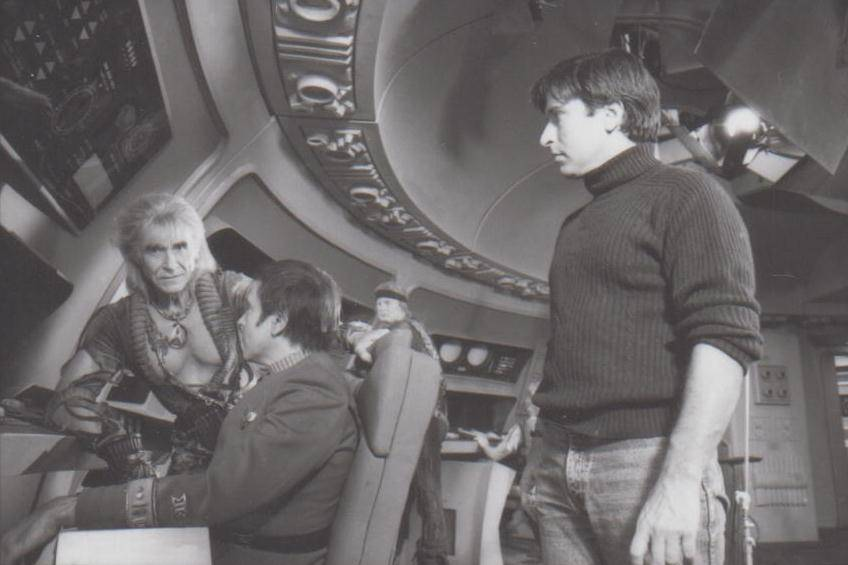 A rare photo from 'Star Trek 2: The Wrath of Khan' with Ricardo Montalban and director Nicholas Meyer, part of the research by John and Maria Jose Tenuto.