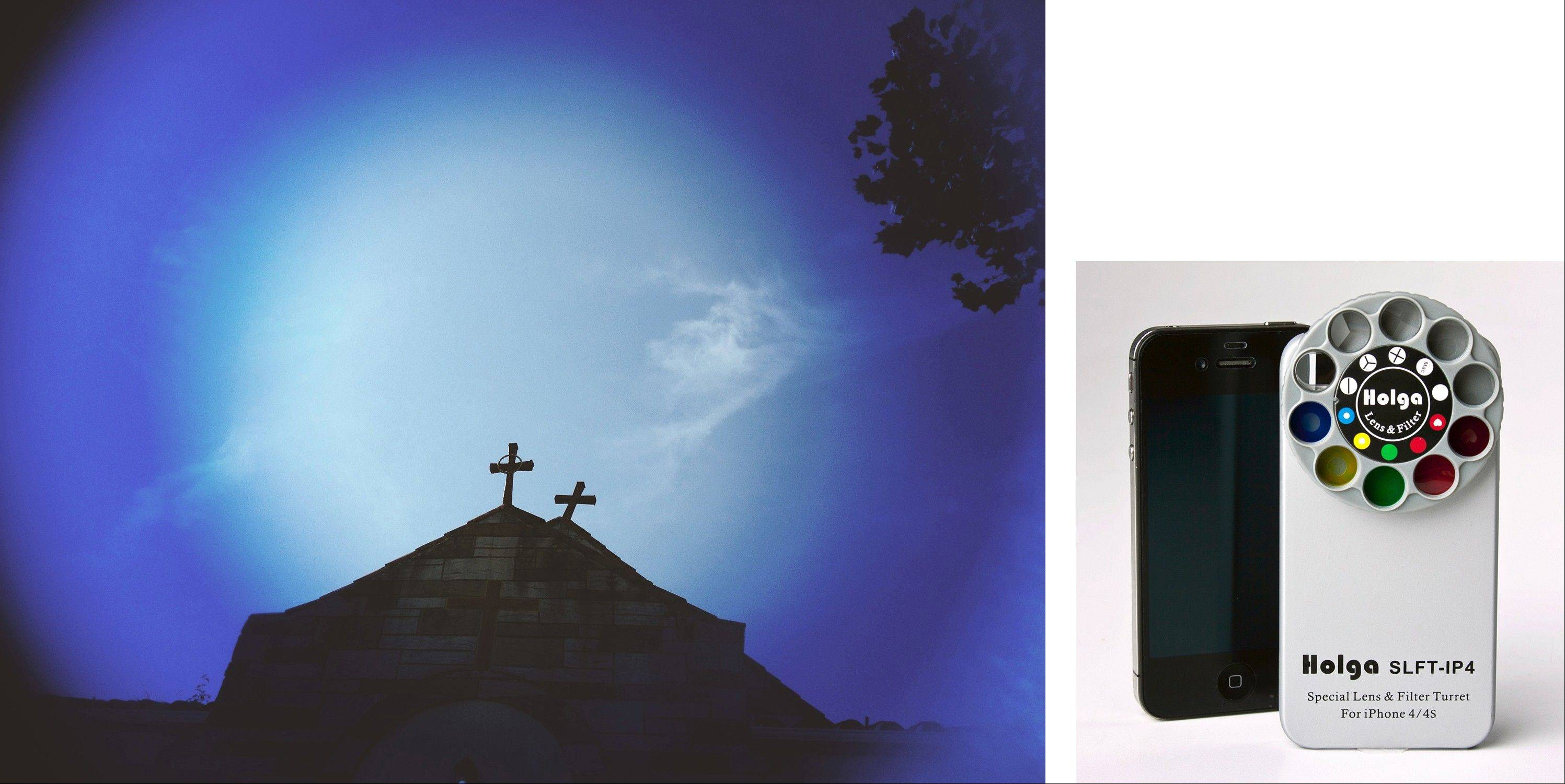 The top of the Ebenezer Baptist Church in Washington (left) as shot with the Holga Special Lens & Filter Turret, right.