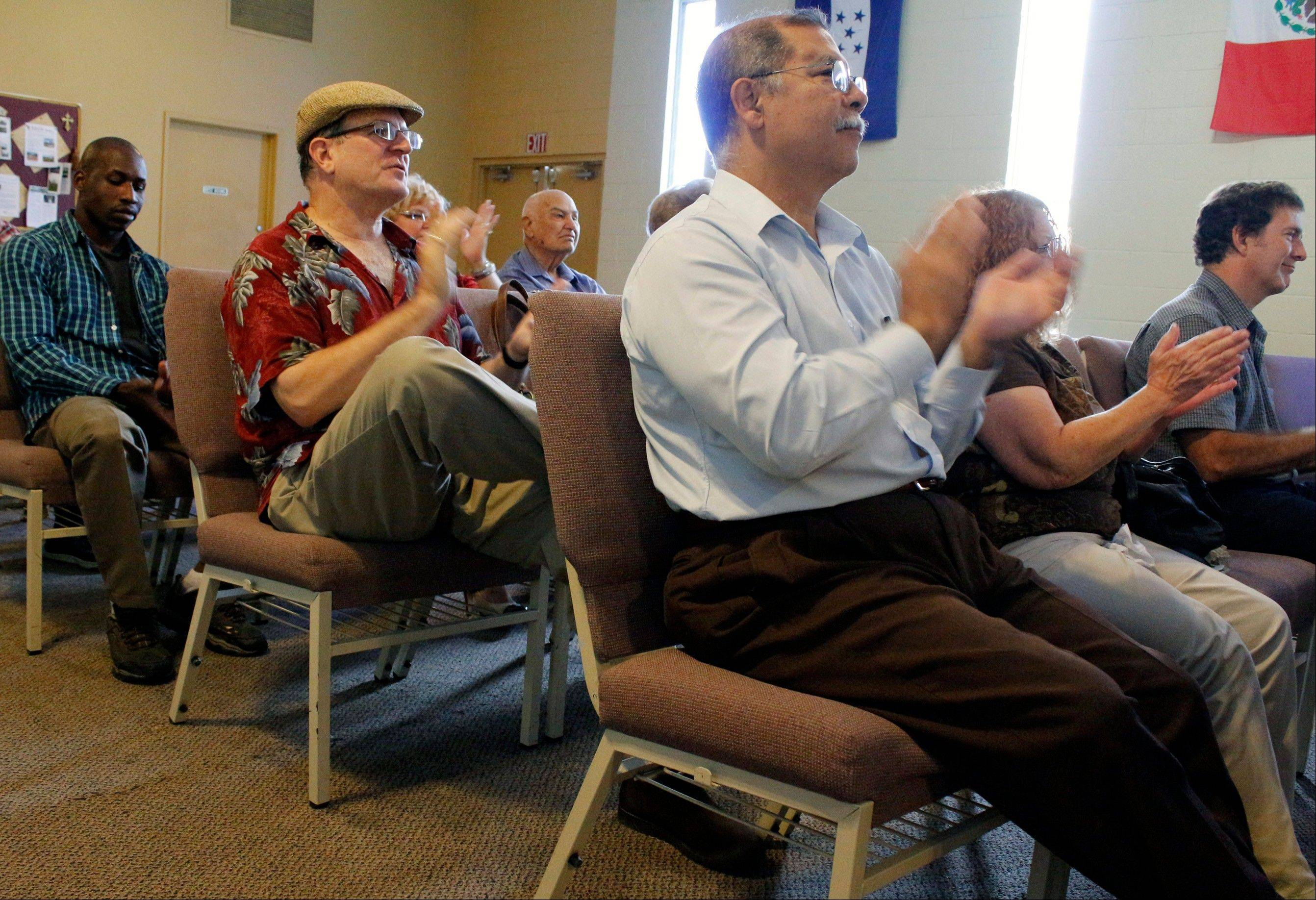Pentecostal members attend a service at The Three Crosses Church in Chatsworth area of Los Angeles.