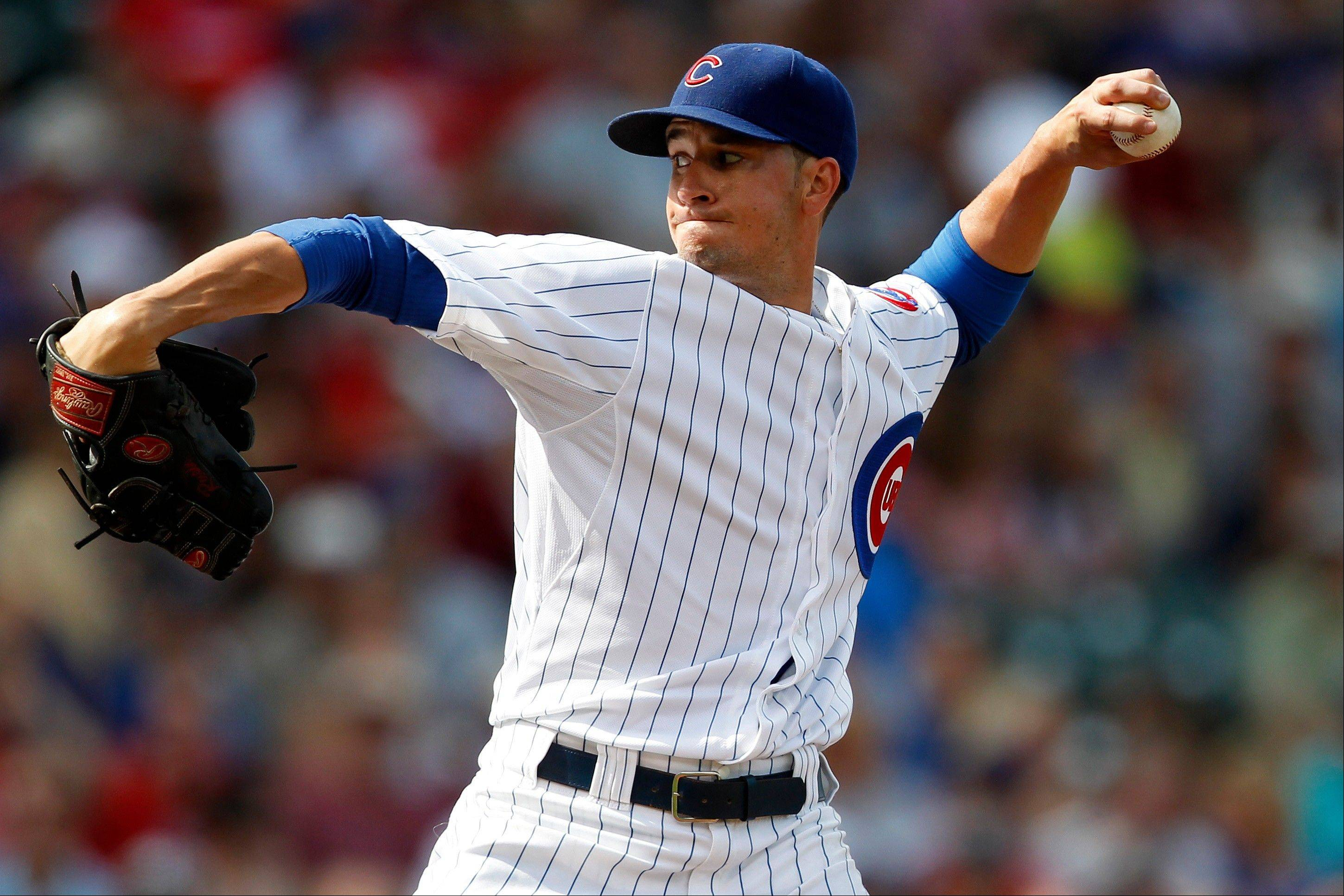 Cubs starting pitcher Chris Rusin threw 5 innings against the Phillies on Saturday at Wrigley Field. He has a 2.74 ERA after 9 starts this season.
