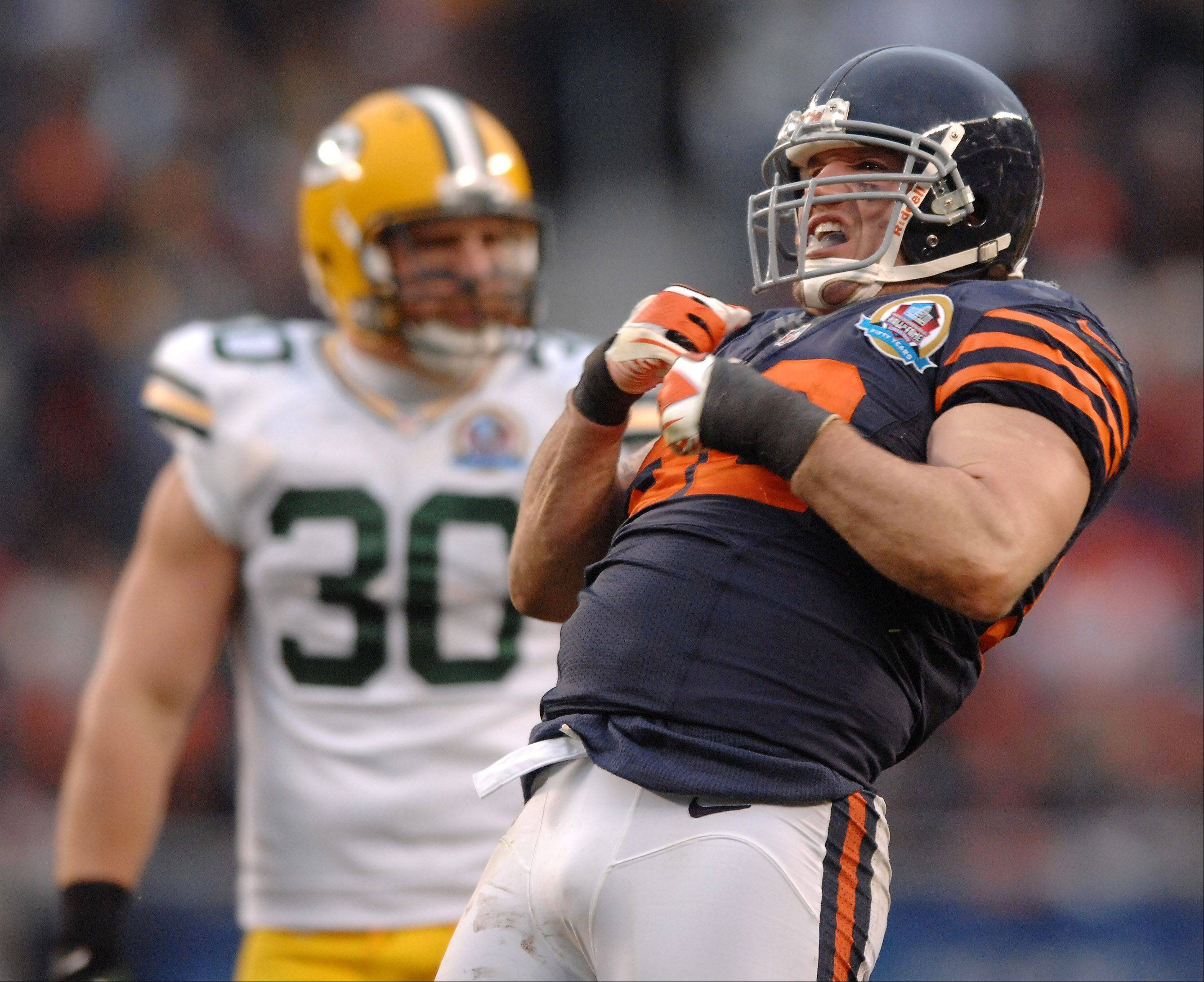 Rick West/rwest@dailyherald.comBears linebacker Blake Costanzo celebrates during action at Soldier Field.