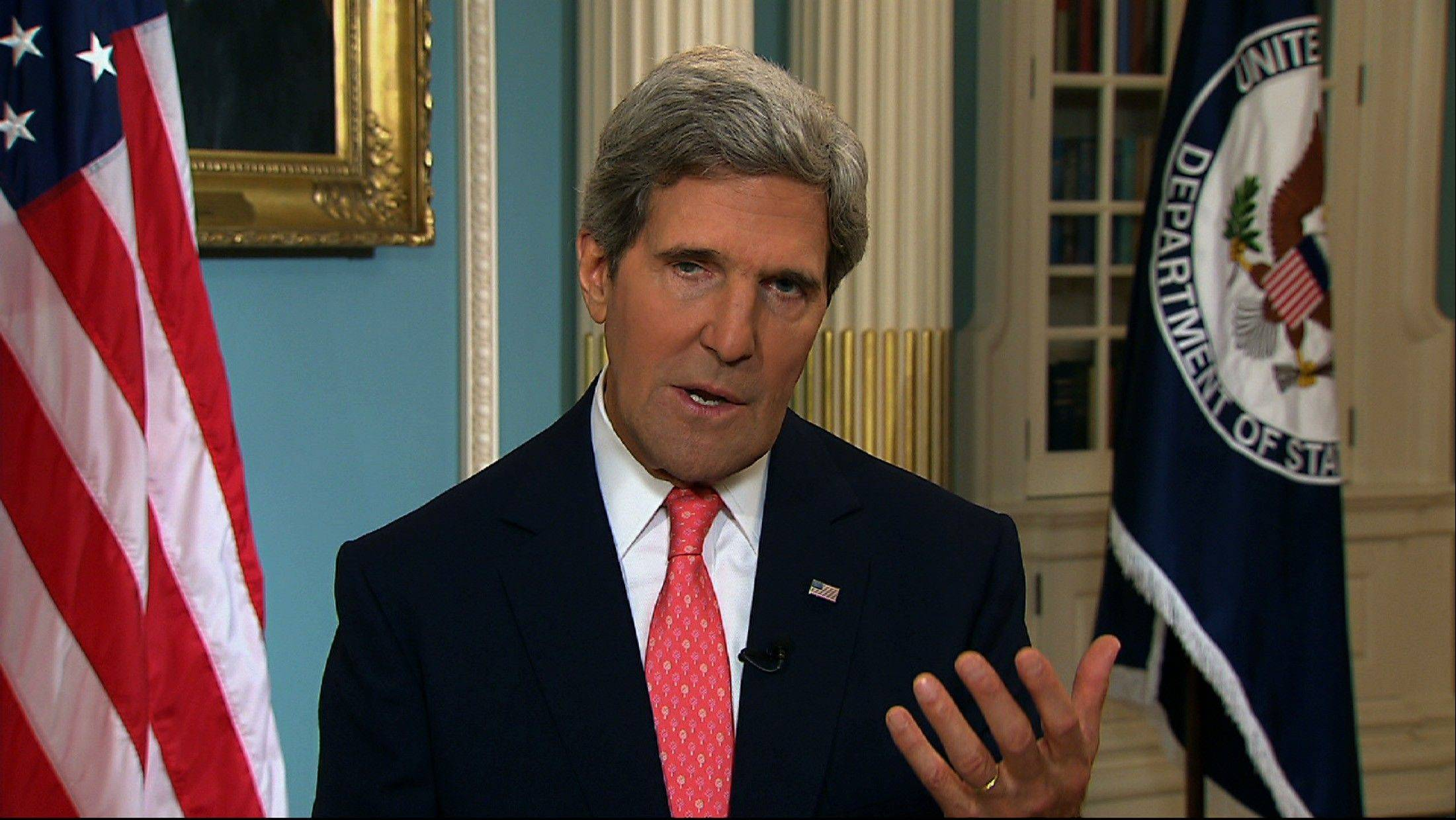 In this image from video, Secretary of State John Kerry appears in one of a series of interviews for Sunday news shows to say the case for intervention in Syria�s two-and-a-half-year civil war was strengthening each day.