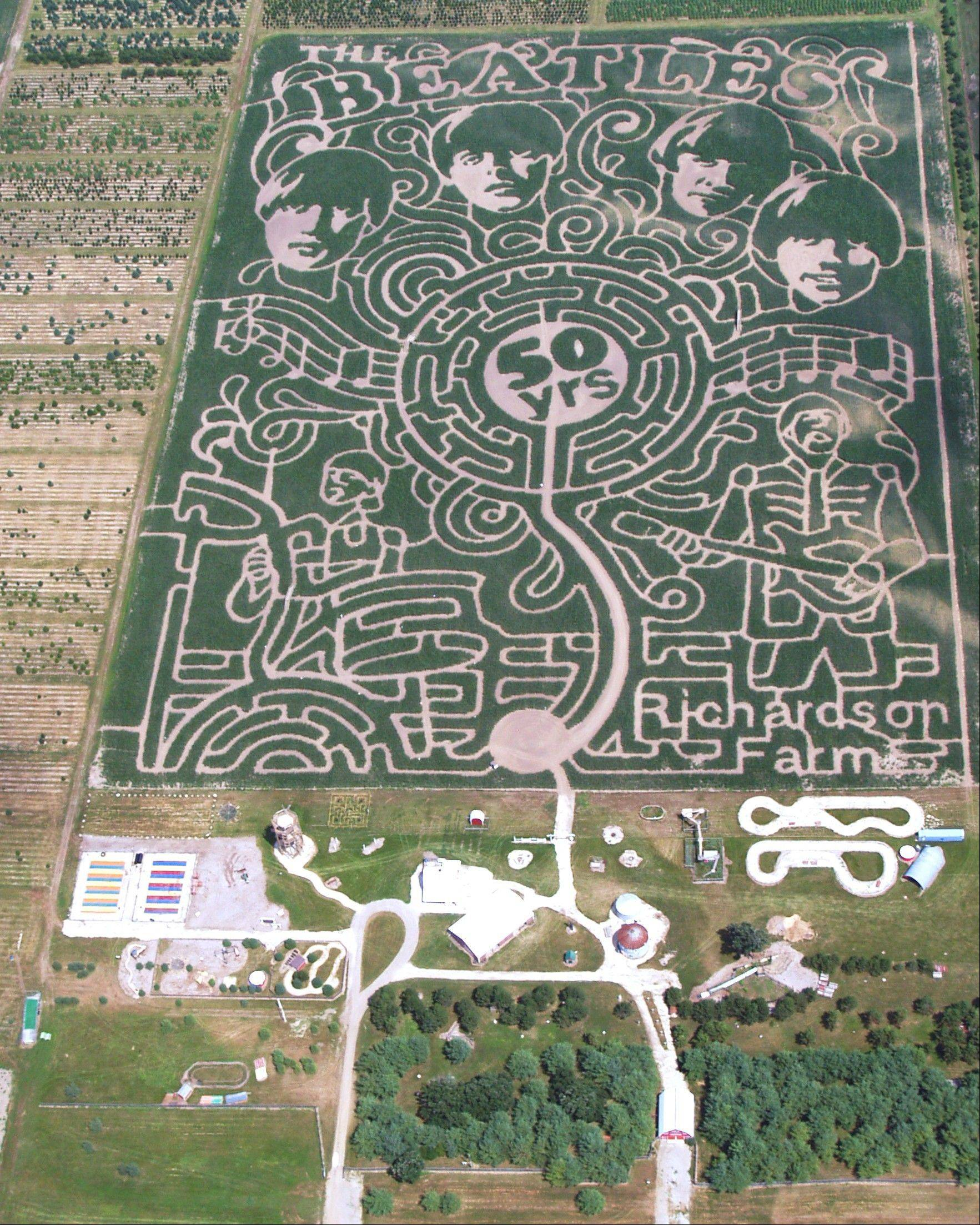 "The faces of The Beatles are part of the ""world's largest corn maze"" at the Richardson Farm in Sugar Grove."