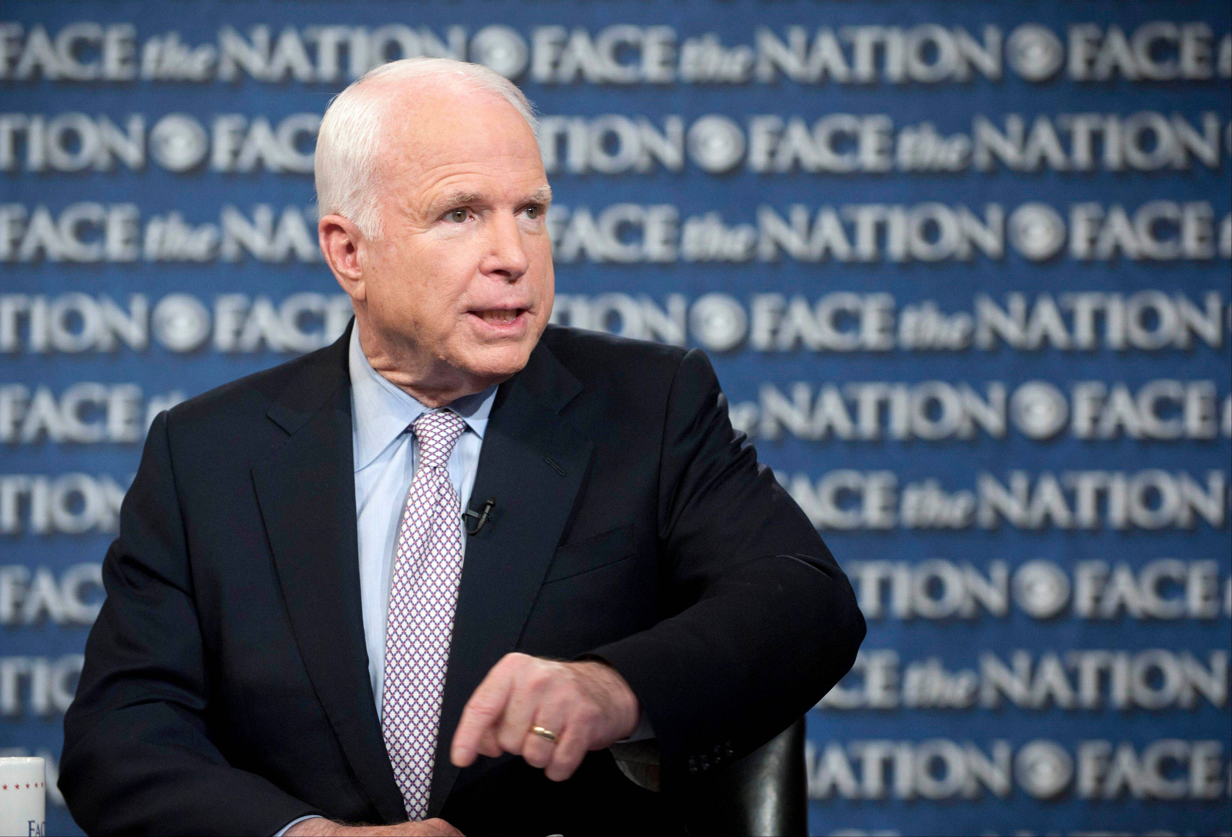 "Sen. John McCain, appearing on CBS's ""Face the Nation"" Sunday, said he and others on Capitol Hill would want to see a plan and a strategy for a military strike on Syria that will achieve some goals that the country needs achieved."