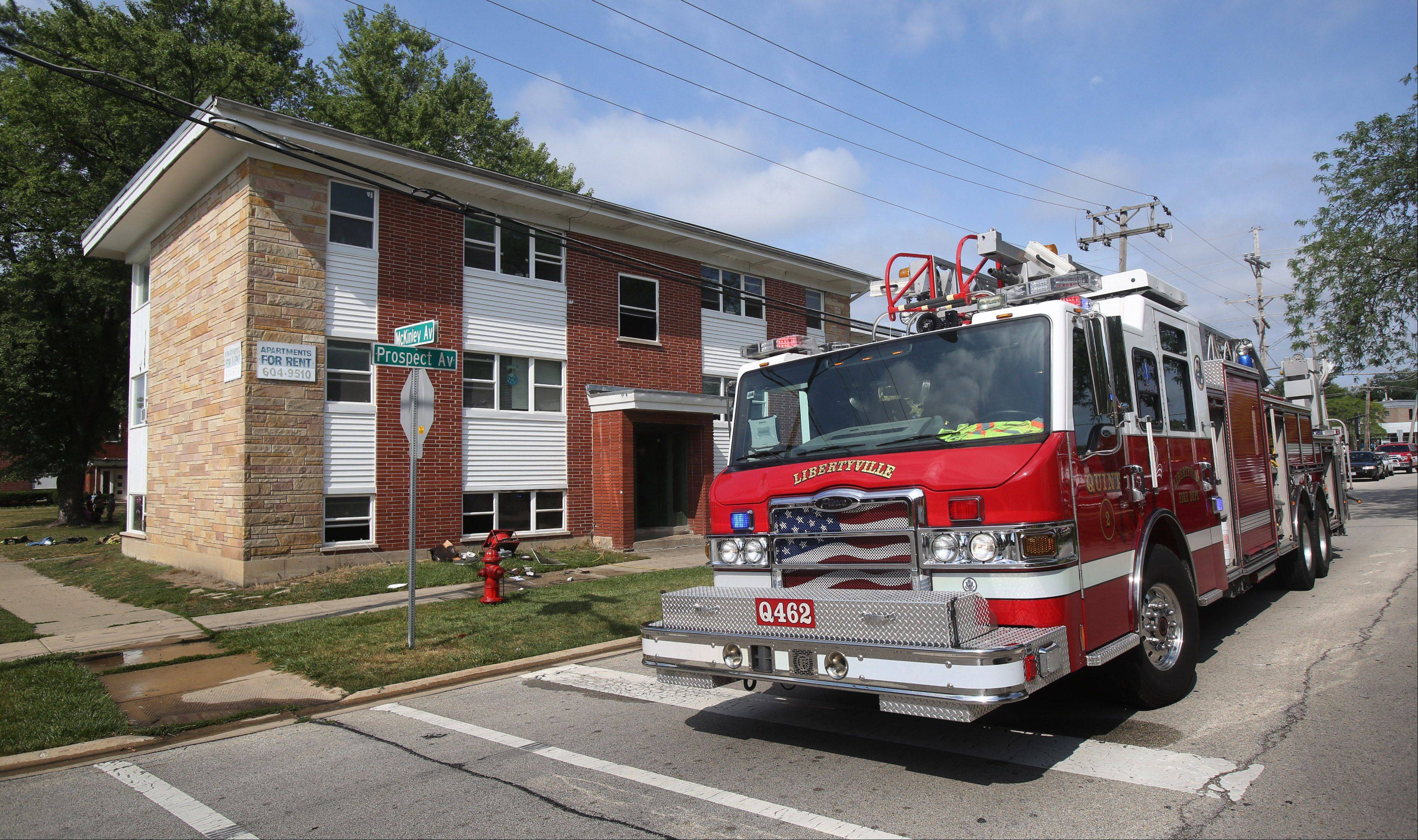 Mundelein firefighters were called to the McKinley Gardens apartments in the 500 block of McKinley Avenue at 9:18 a.m. Sunday in response to a fire in a basement unit of the building. All of the building's occupants got out, but one resident was checked at the scene for smoke inhalation, said Mundelein Fire Batallion Chief Matt Carey.