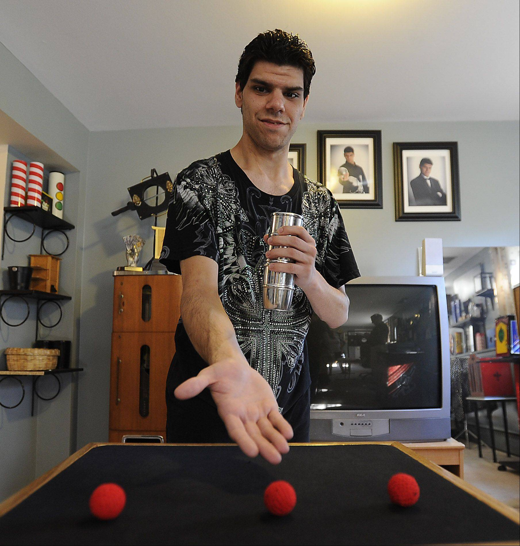 Hundreds of hours spent watching VHS tapes of magician Paul Lee helped Trent Rivas of Des Plaines master this hidden ball trick despite mental and physical disabilities.