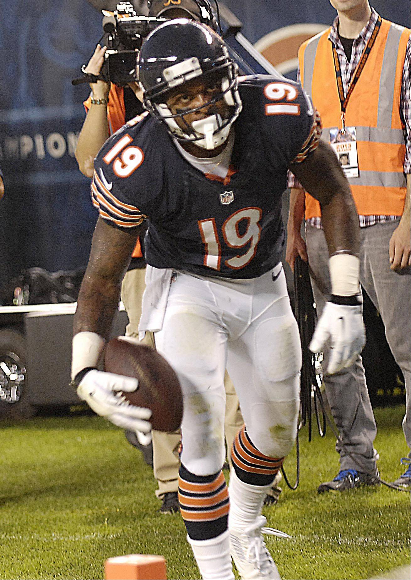 Bears wide receiver Joe Anderson turns after catching a touchdown pass Thursday against the Cleveland Browns in the last preseason game at Soldier Field in Chicago.