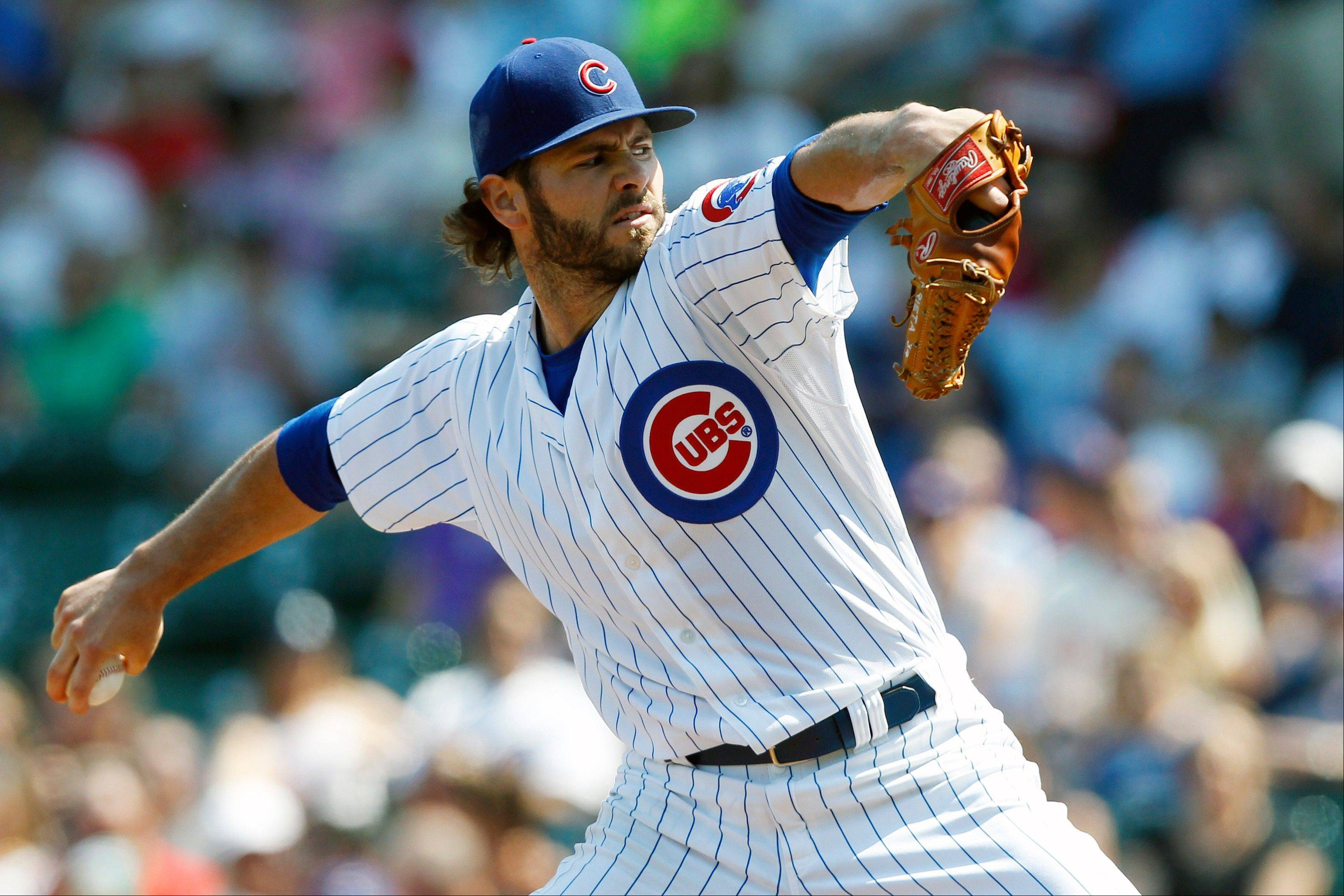 Cubs starting pitcher Jake Arrieta allowed on 1 run on 3 hits in 62⁄3 innings Sunday against the Phillies to get the win.