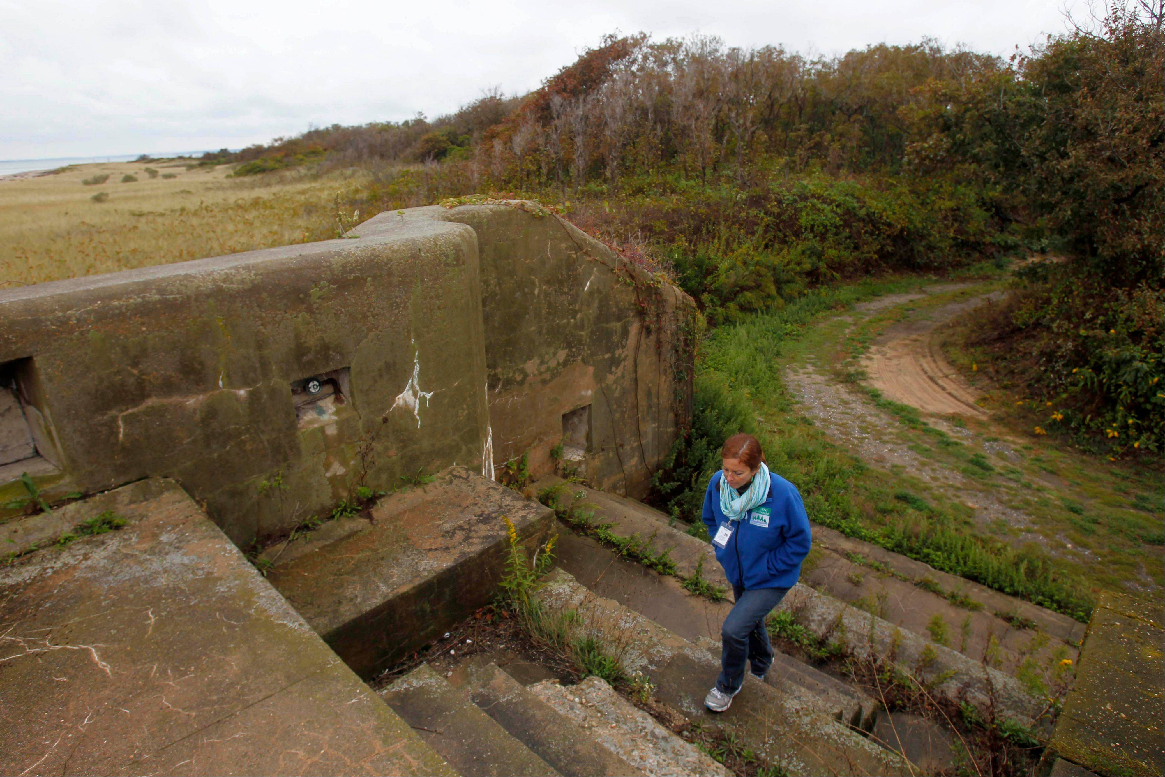 Adrienne Esposito, director of Citizens Campaign for the Environment, walks to the top of an old battery, previously used for defense, on Plum Island in New York. Environmental groups on both sides of Long Island Sound have for several years called for the property to be kept as a nature preserve, but the government hopes to sell the island.