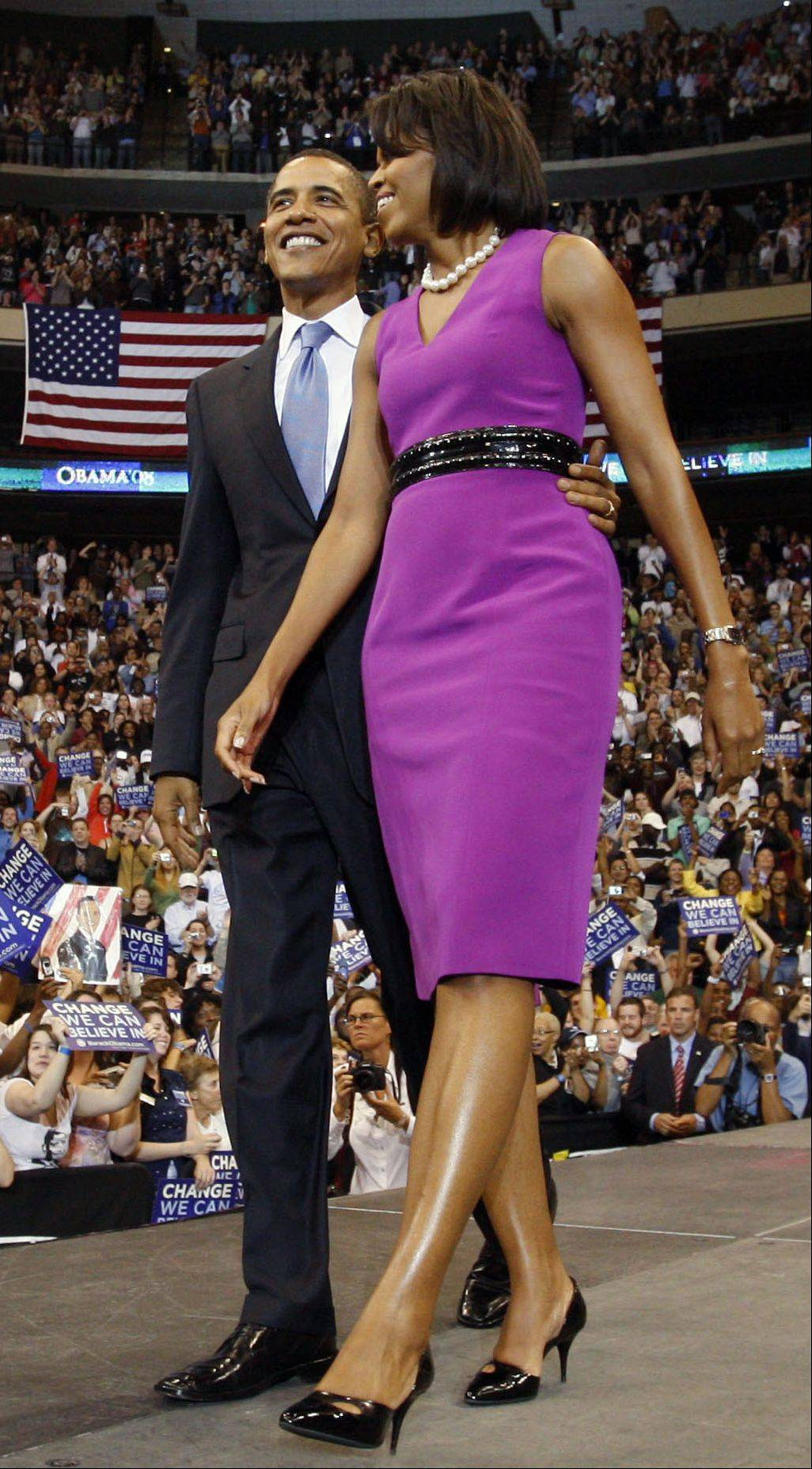 In this Tuesday, June 3, 2008, file photo Michelle Obama is seen wearing one of Maria Pinto's designs during her husband's run for election in 2008.