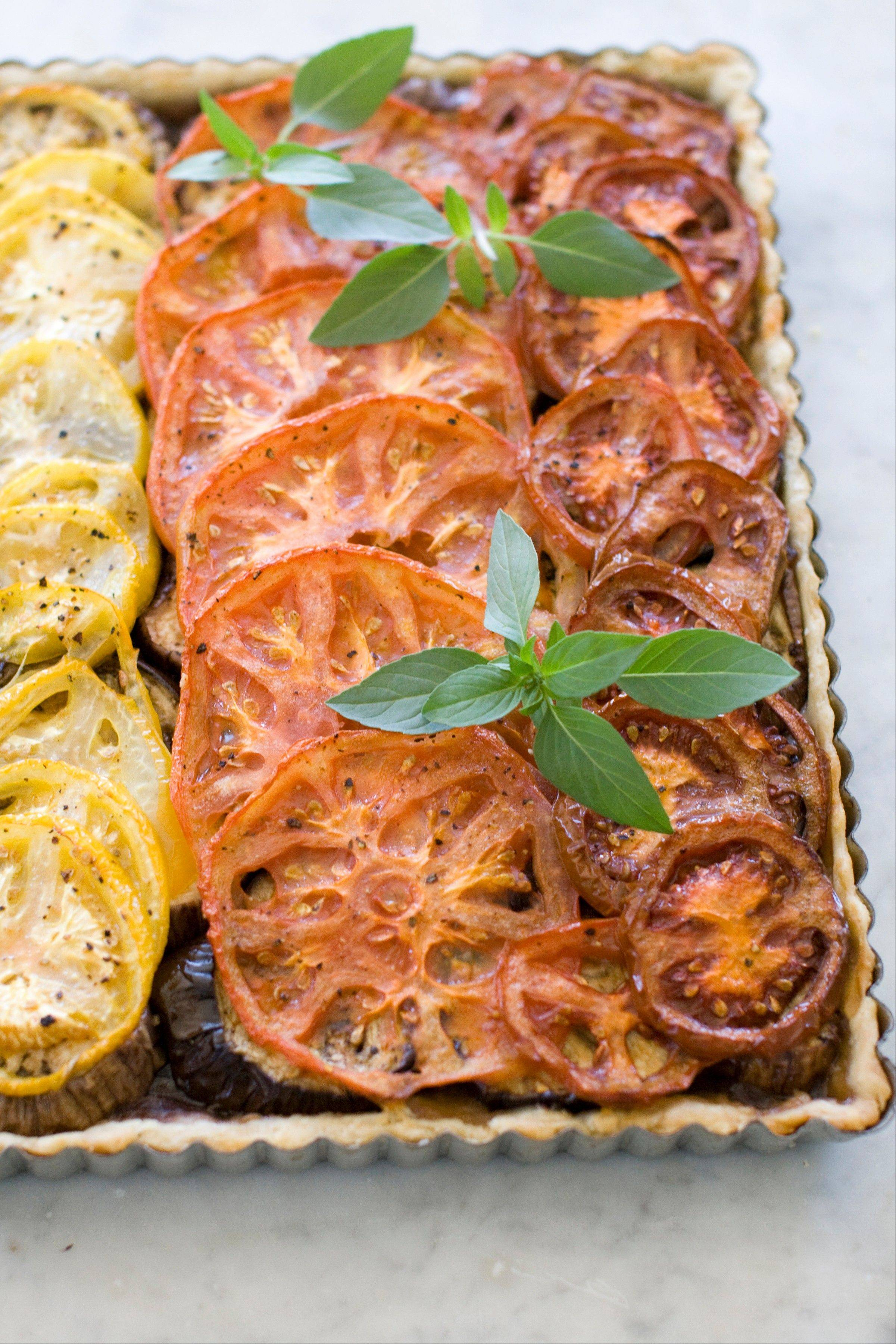 Caramelized Onion, Eggplant and Heirloom Tomato Tart is perfect for Rosh Hashana and other fall celebrations.