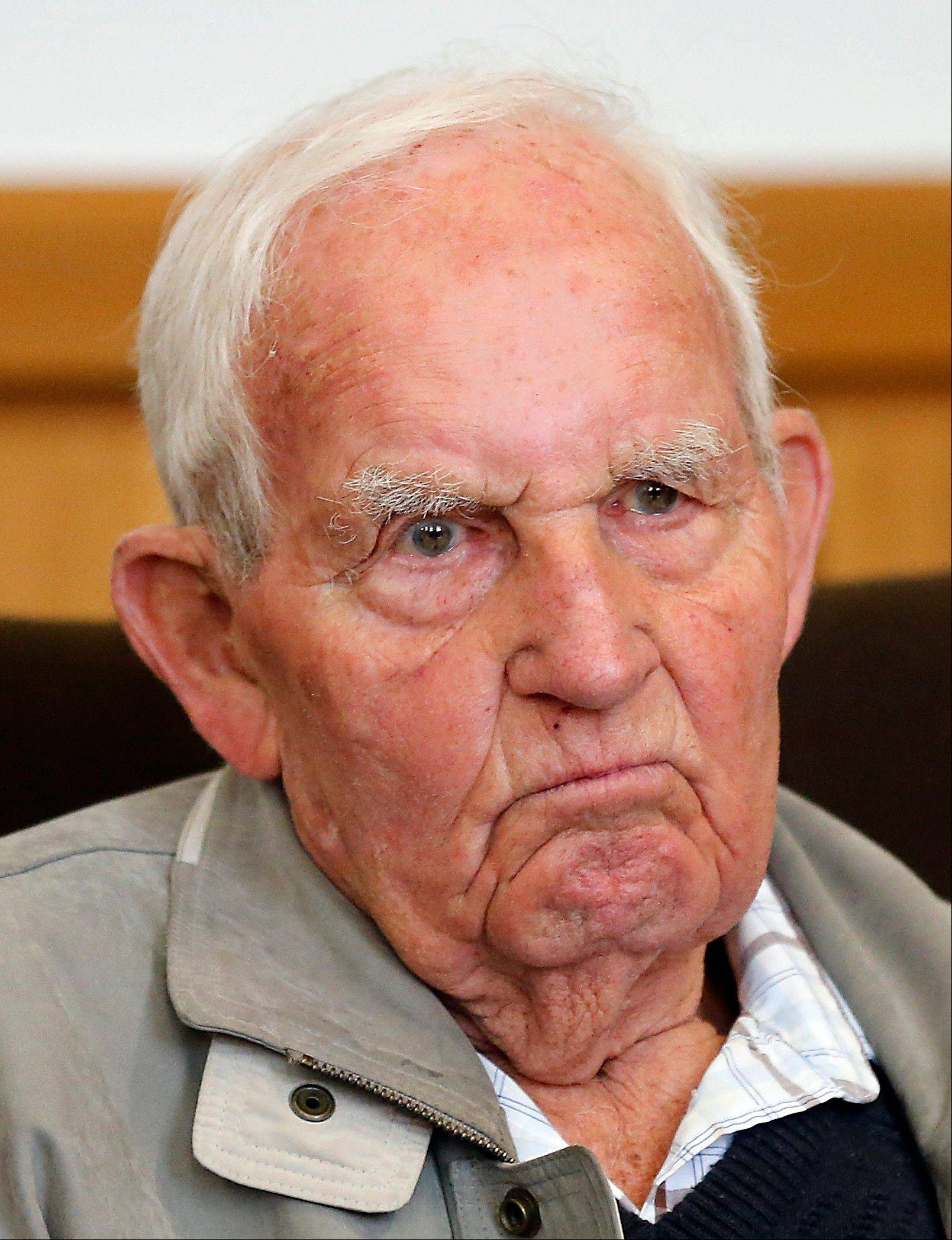 Siert Bruins, a 92-year-old former member of the Nazi Waffen SS, sits Monday in a courtroom in Hagen, Germany. Dutch-born Siert Bruins, who is now a German, is on trial on allegations he executed a Dutch resistance fighter in 1944.