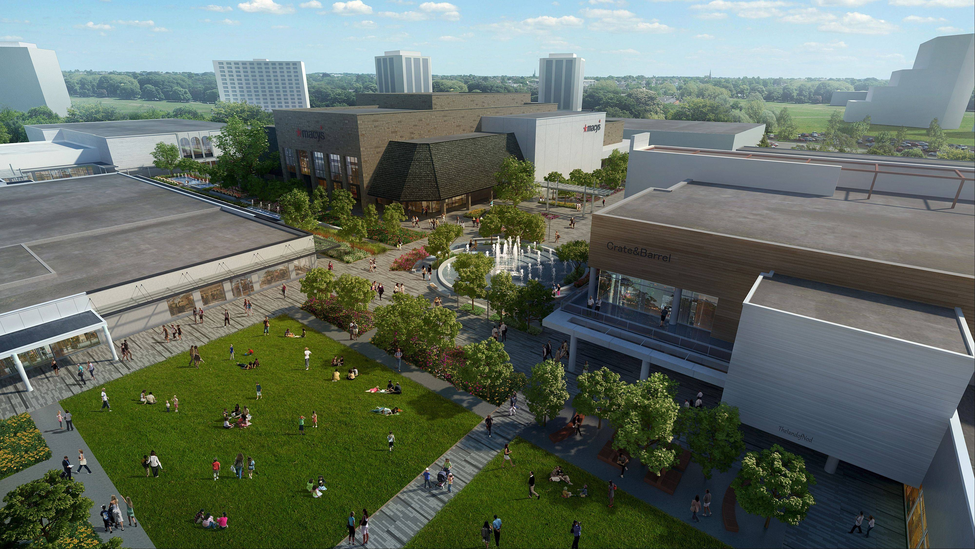 The Village Green, shown in this virtual rendering of the Oakbrook Center renovations, will be used for outdoor events, including concerts.