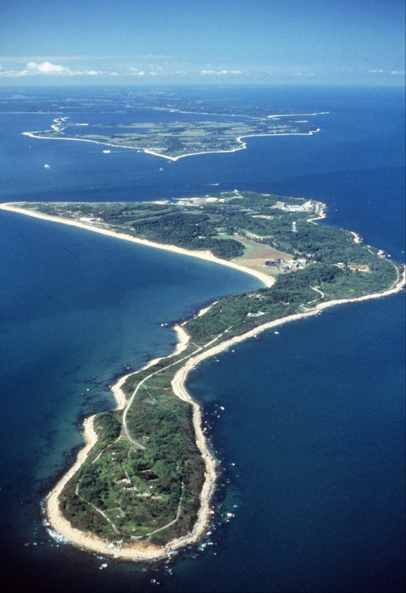 Plum Island is seen from the air in the waters off the northern shore of New York's Long Island. A GSA environmental study in June suggested homes might be built on the island. Environmental groups want it to become a nature preserve. Some members of Congress want to stop the sale of the island 100 miles east of New York City.